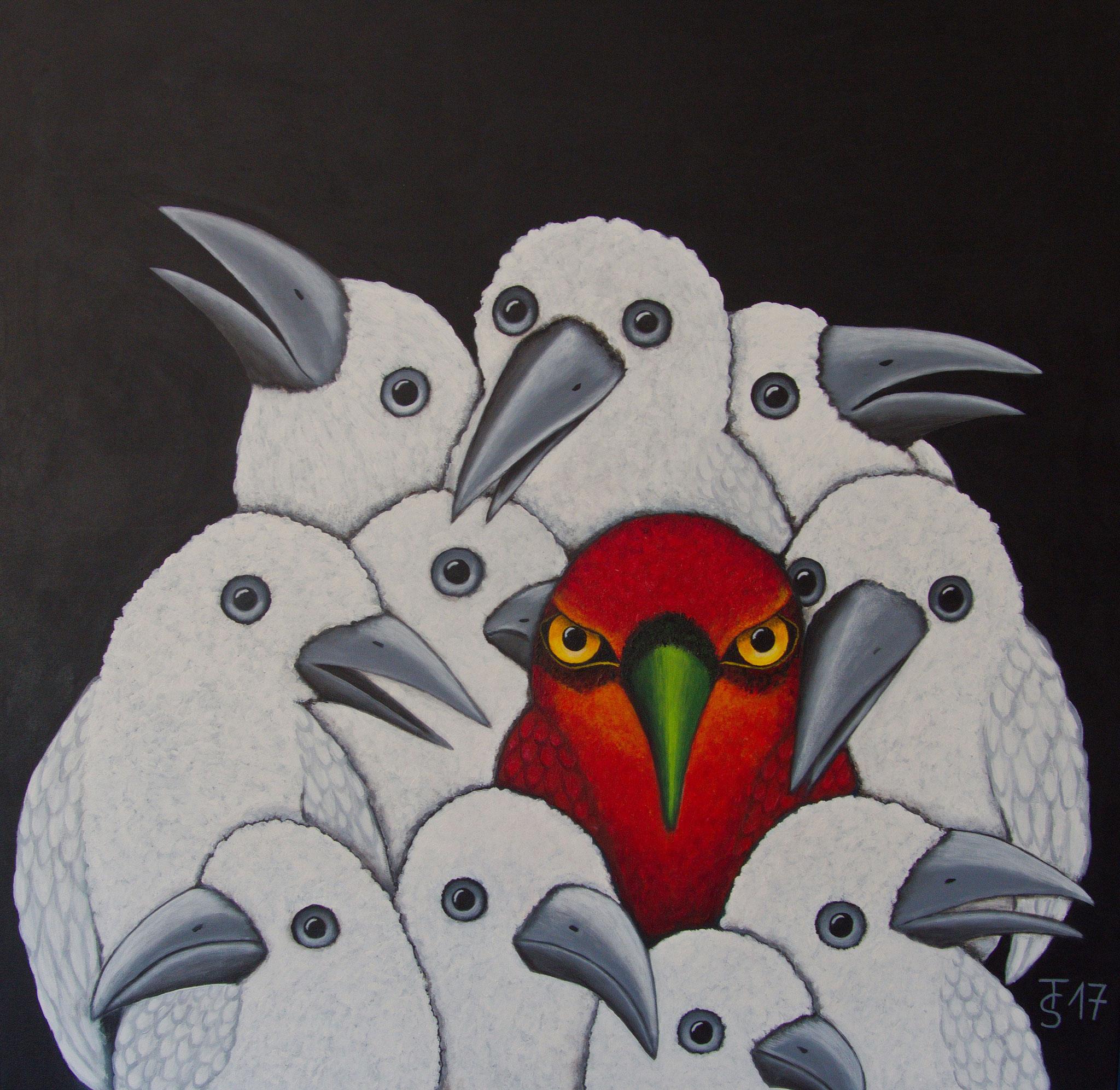 Grünschnabel_ (Acryl auf Leinwand, 100 x 100 cm)