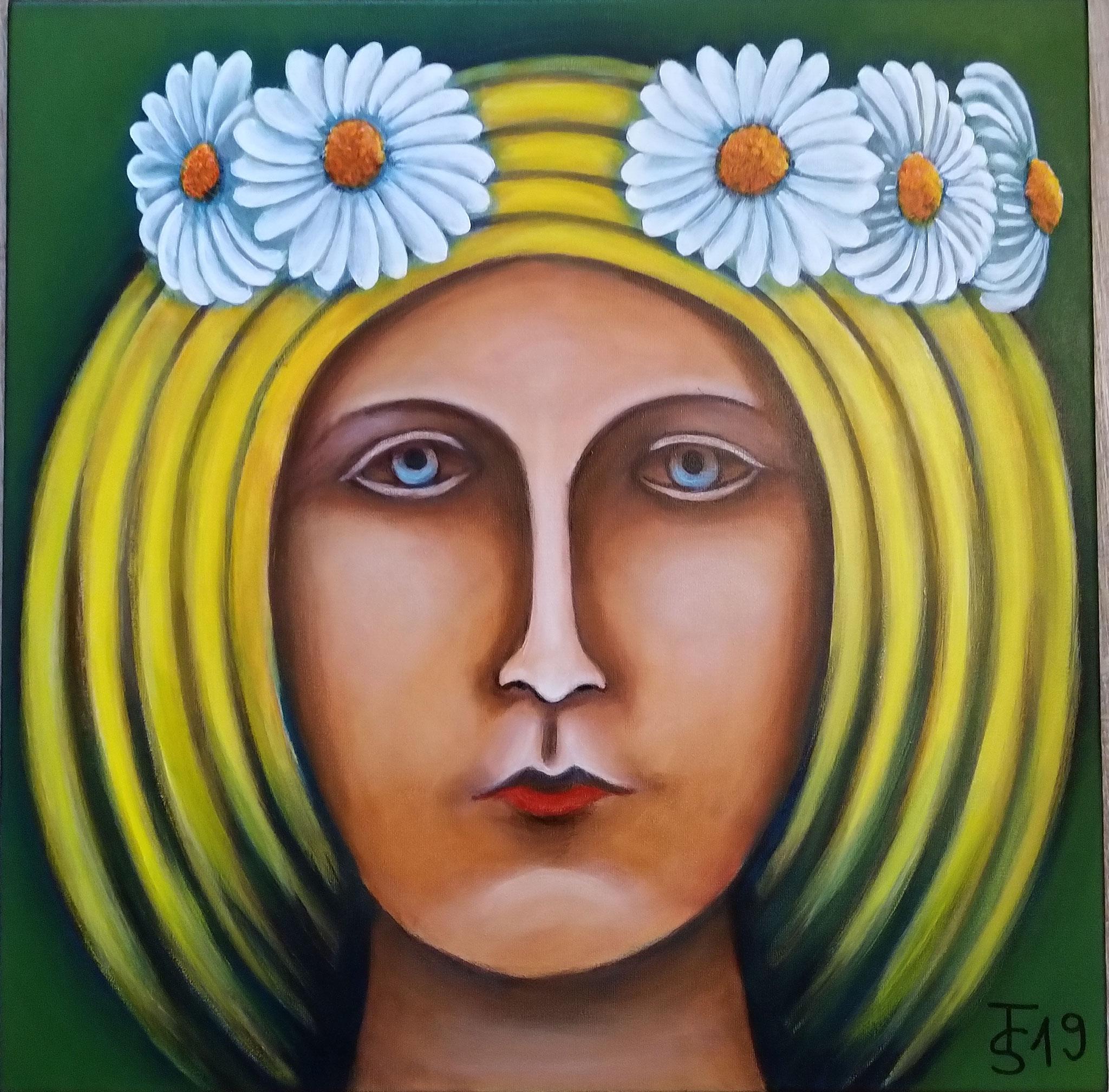 Frühligs-Göttin   _   (Acryl auf Leinwand, 50 x 50 cm)