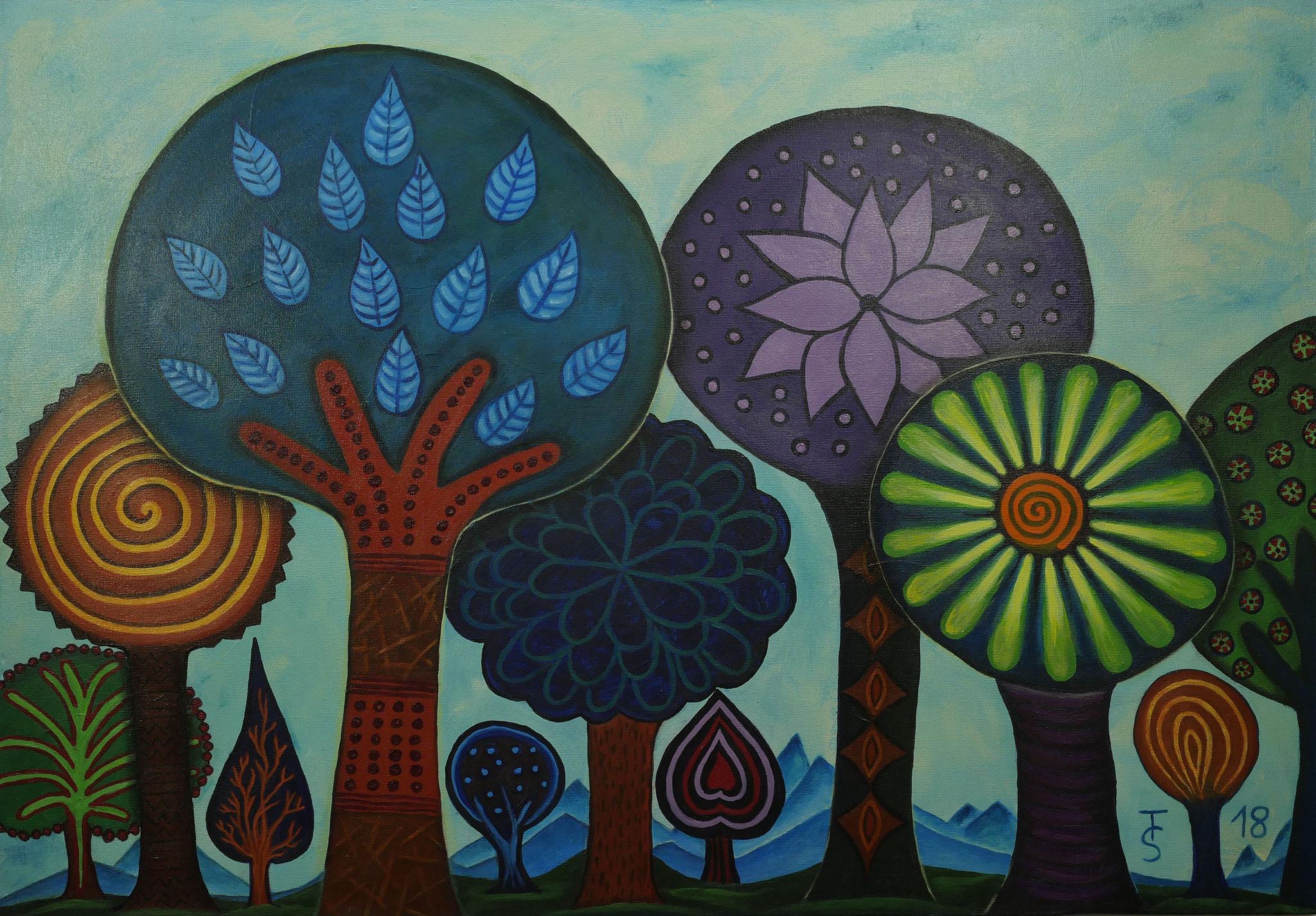 Zauberwald  _  (Acryl auf Leinwand, 100 x 70 cm)