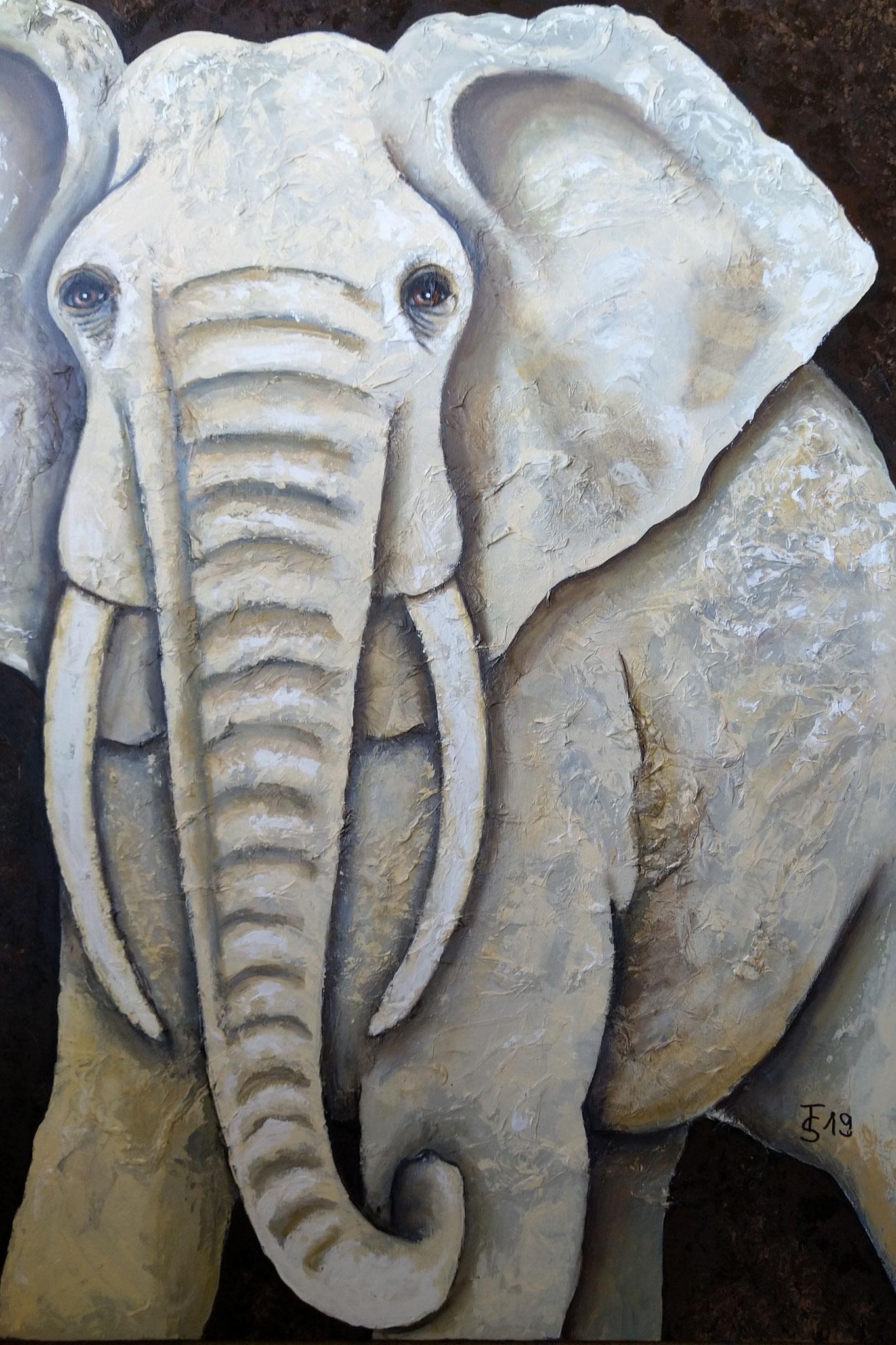 Elefant  _   (Acryl auf Leinwand, 70 x 100 cm)