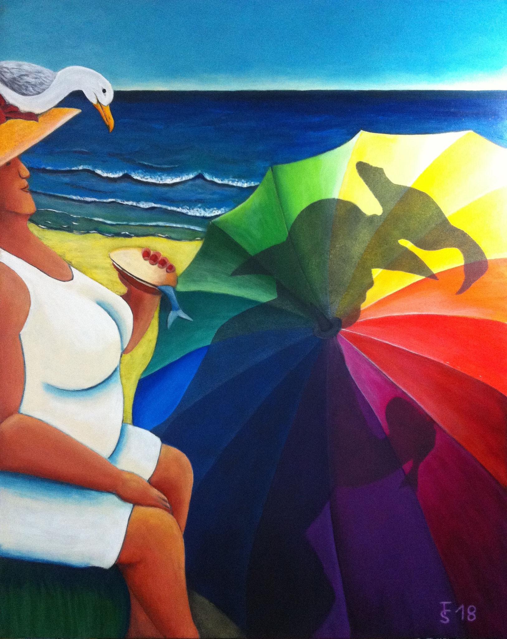 Strandperle  _  (Acryl auf Leinwand, 100 x 80 cm)