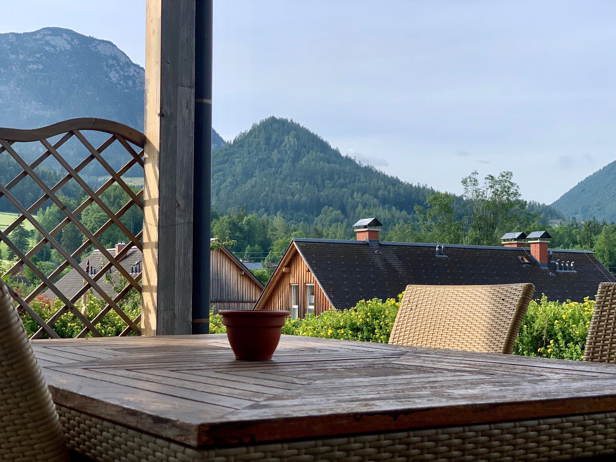 Terrasse im Detail Ferienhaus Ausseerland