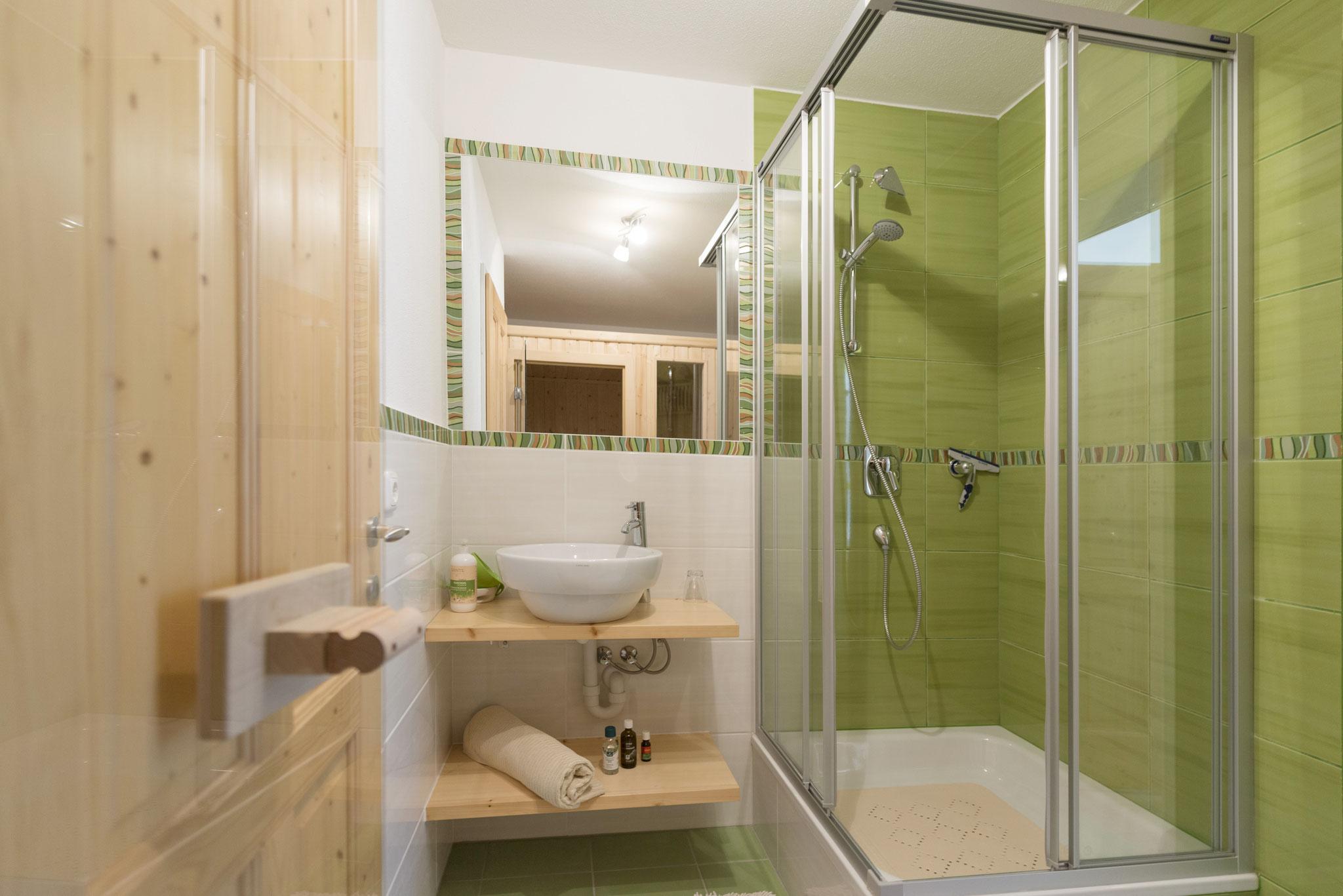 Badezimmer bei der Sauna Ferienhaus Ausseerland
