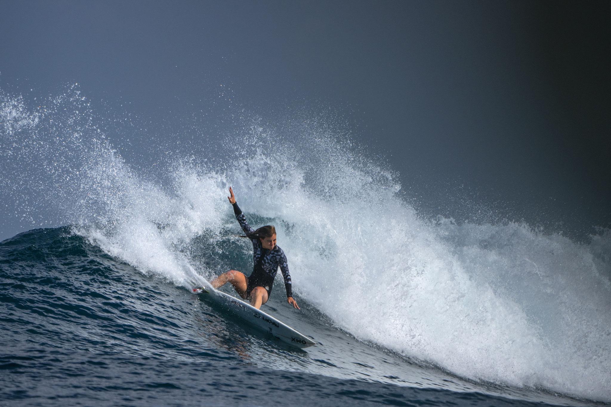 Leonor Fragoso pro surfer girl ripping in Madagascar
