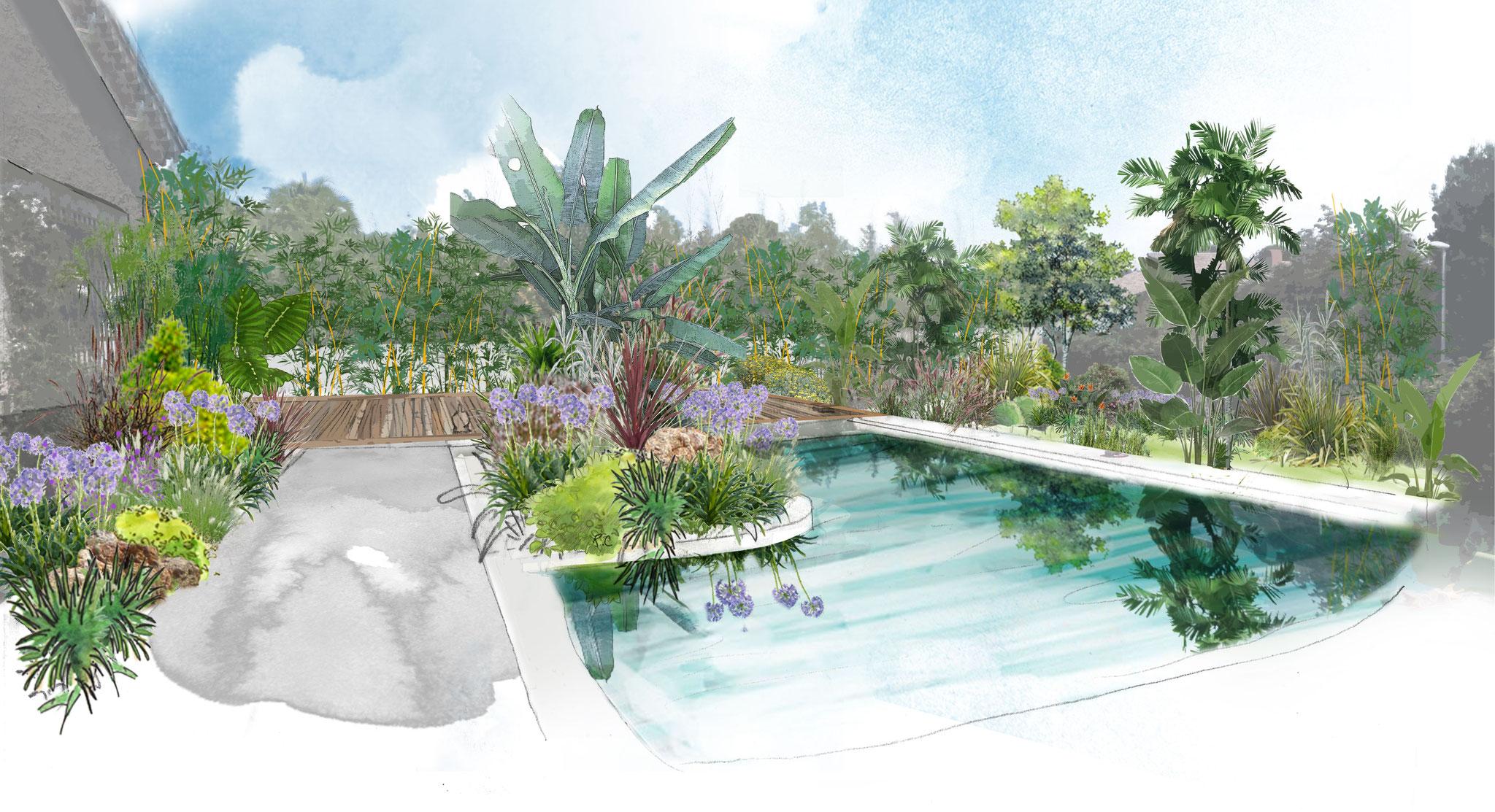 Création d'un jardin et d'une piscine à Carry-le-Rouet © Rc-Paysage