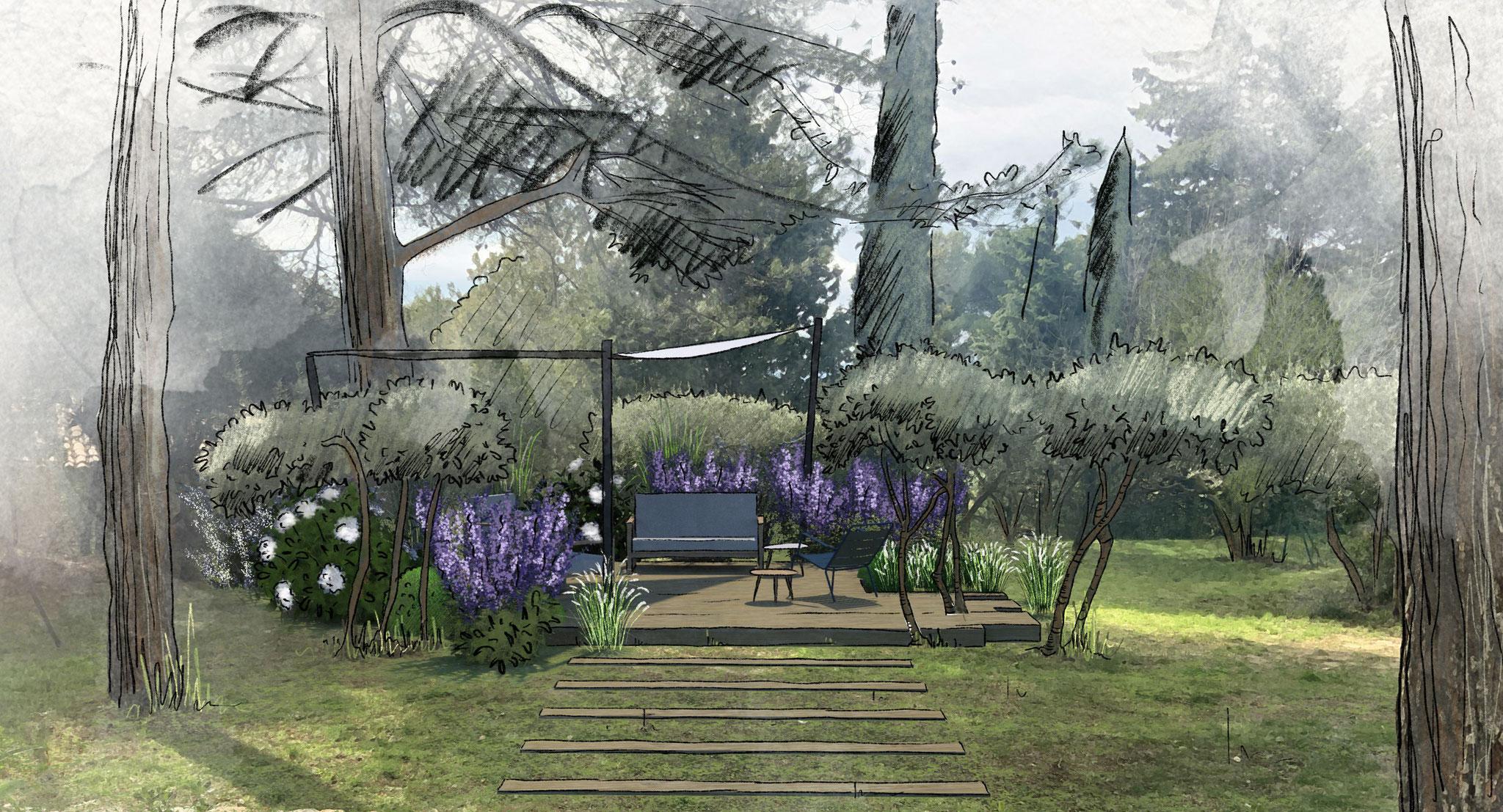 Conception d'un jardin à Mérindol © Rc-Paysage