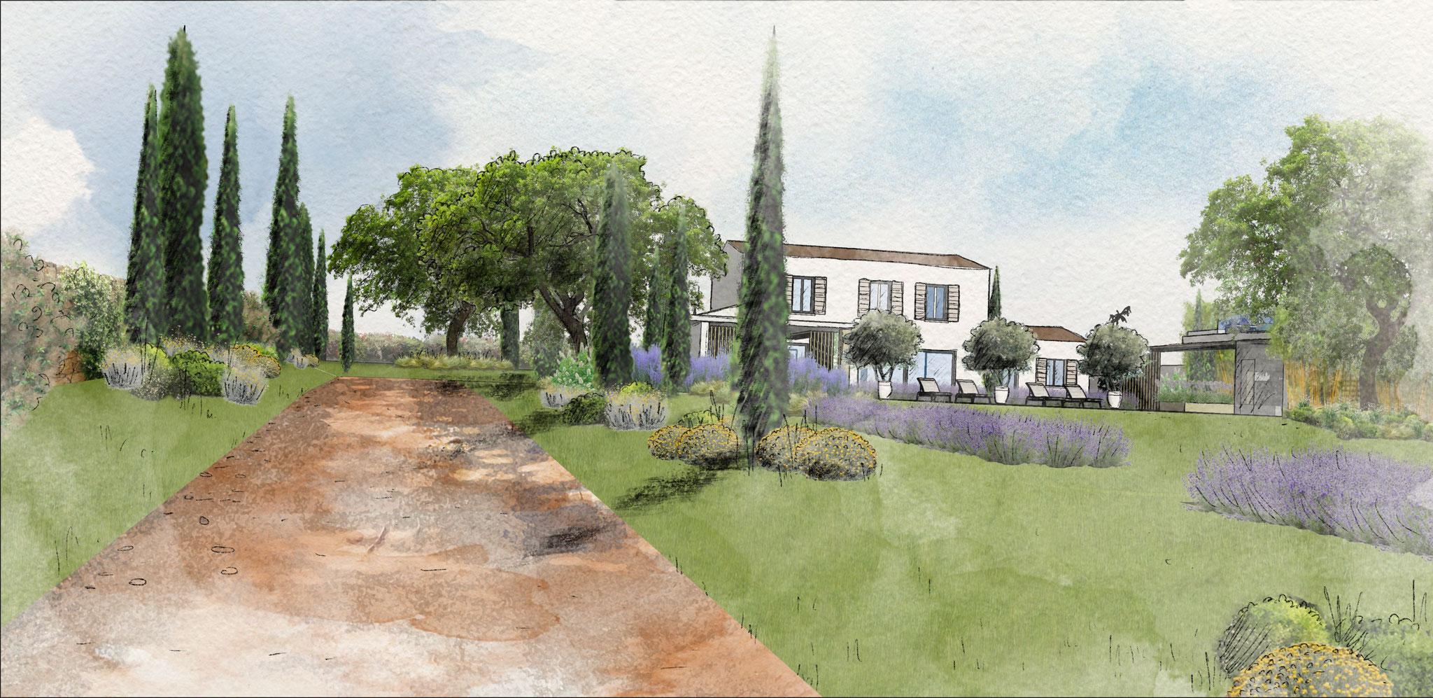 Aménagement d'un jardin à Vaugines © Rc-Paysage