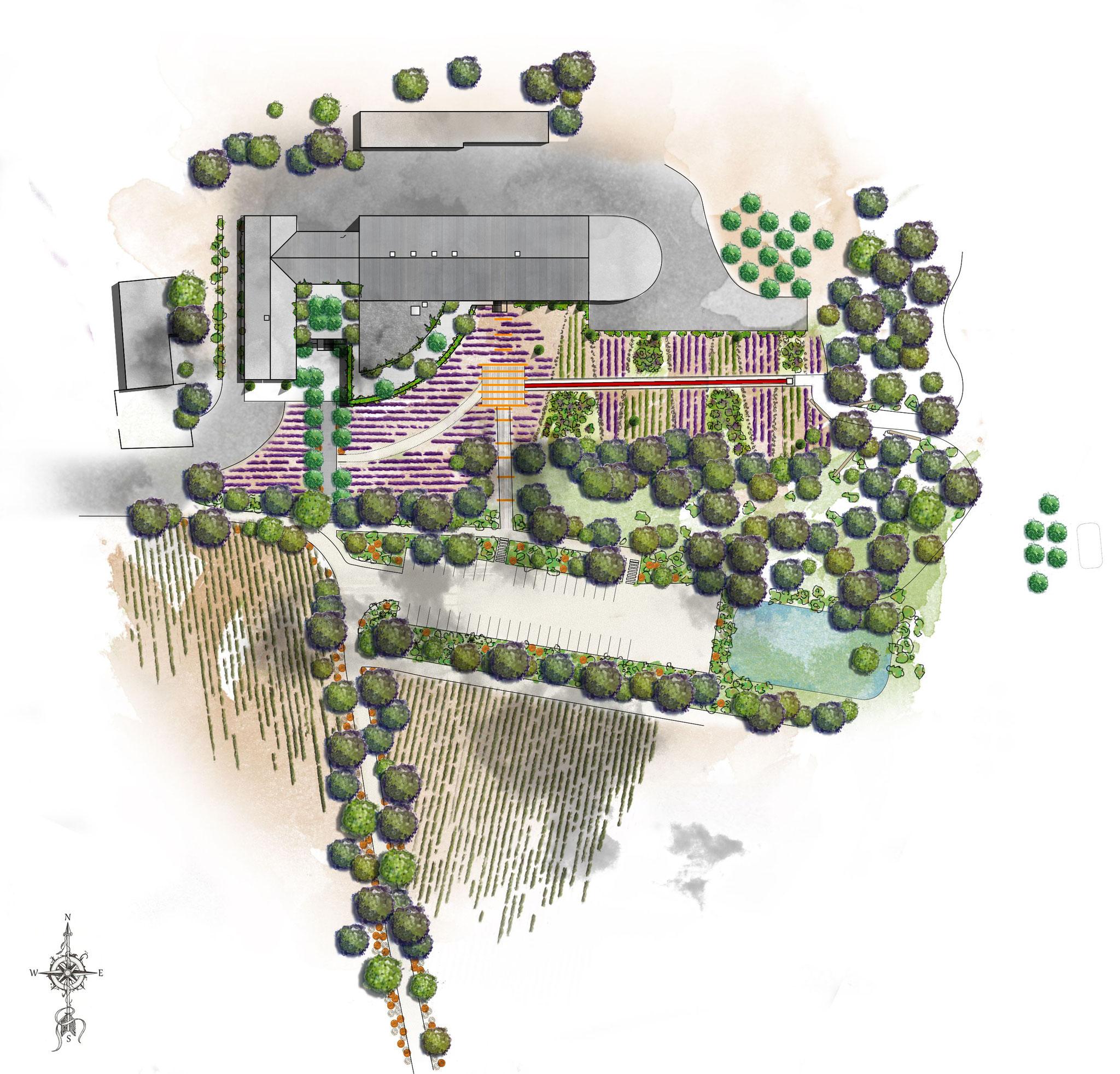 Création des jardins et aménagements extérieurs d'un domaine viticole © Rc-Paysage