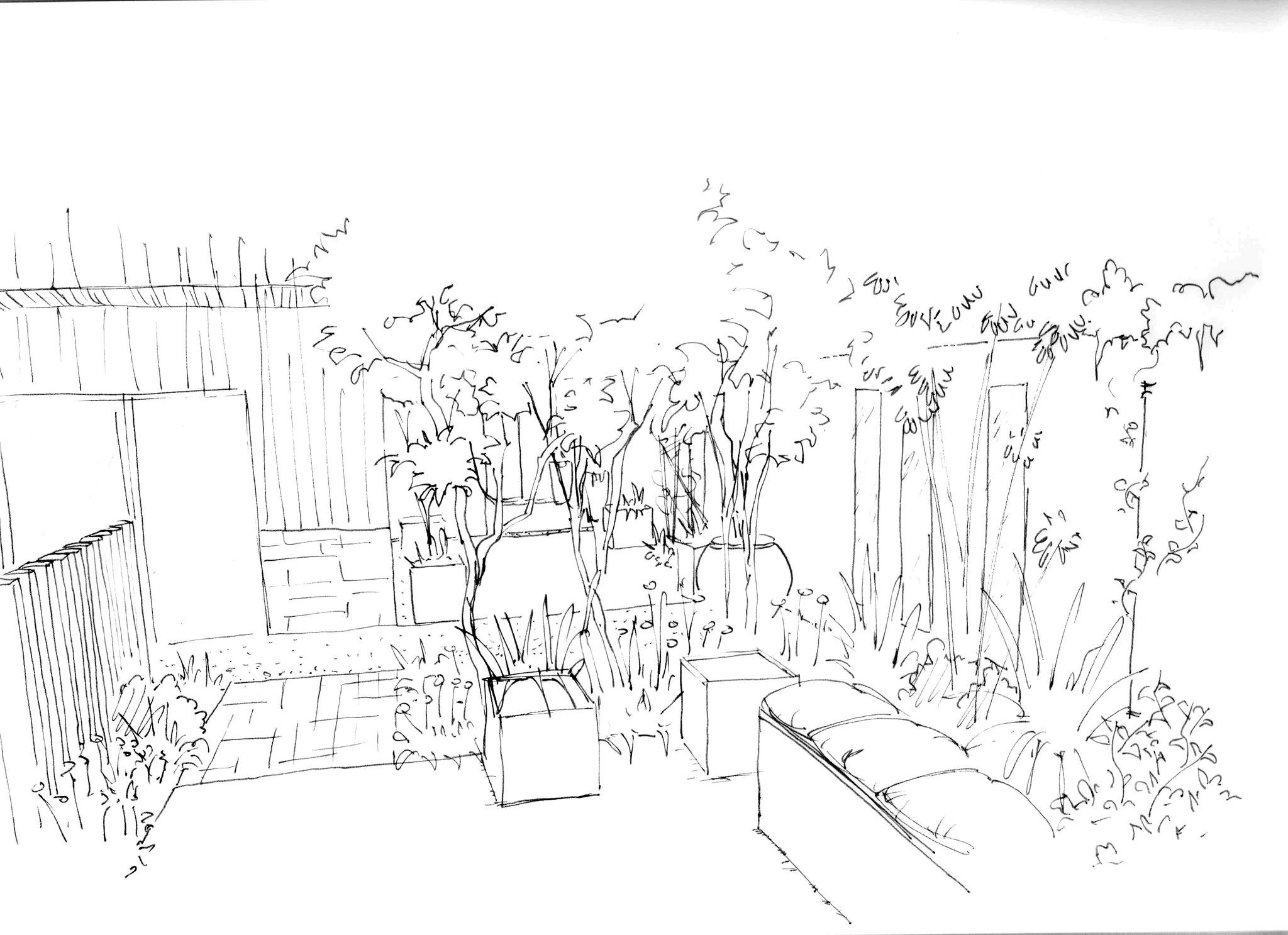 Aménagement d'un salon de jardin contemporain à Marseille © Rc-Paysage