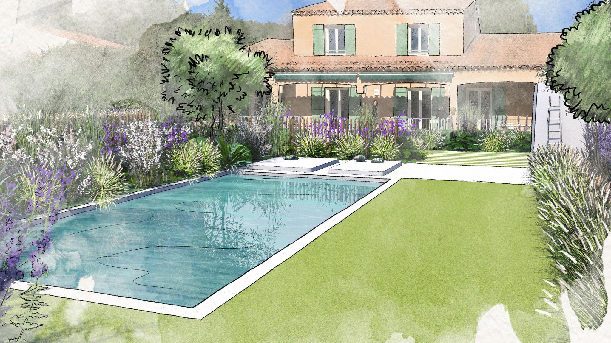 Aménagement d'un jardin à Bouc-Bel-Air © Rc-Paysage