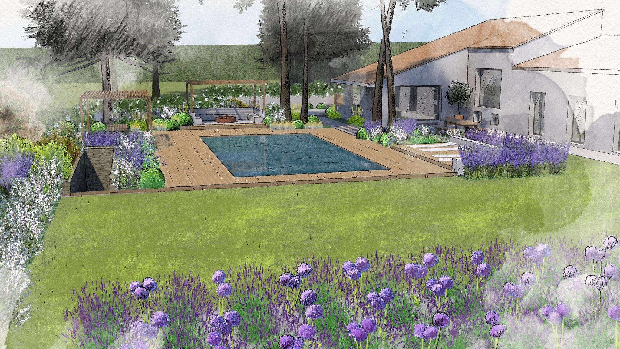Réalisation d'un jardin à Aix-en-Provence © Rc-Paysage