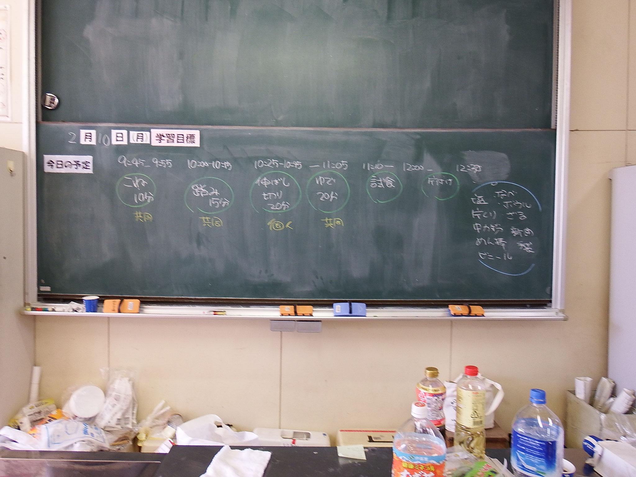 黒板に作業手順書が記載されました