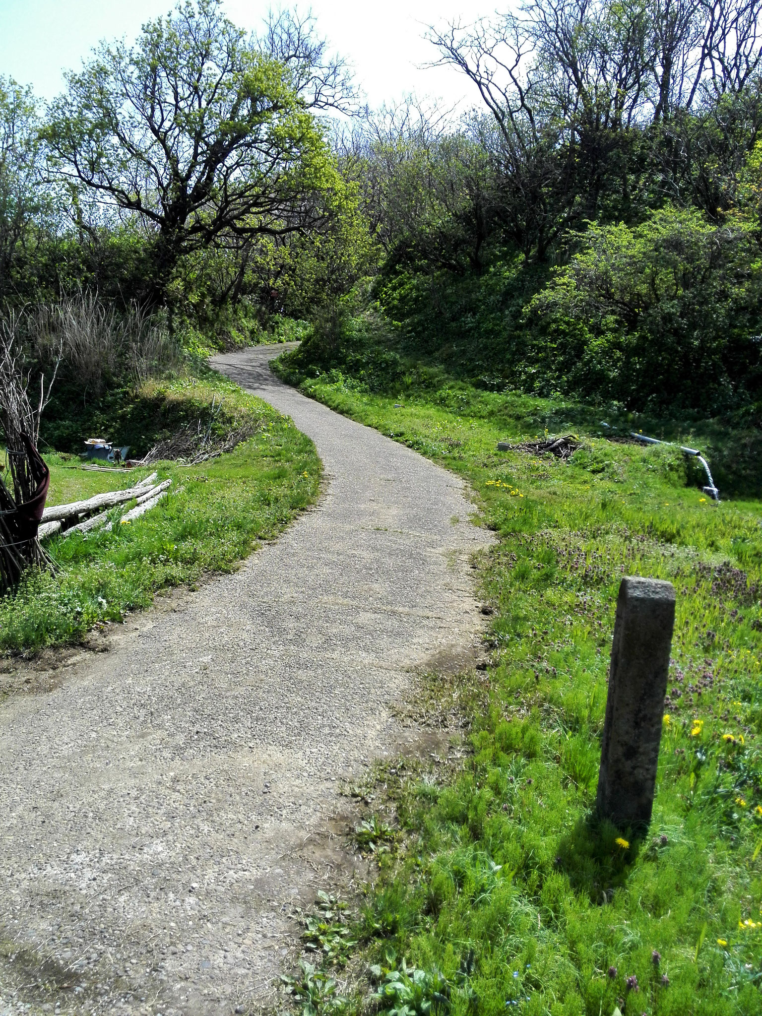 加賀道。かつての往還道。ここを瞽女や祭文語りや六部たちのような旅人も歩いた。