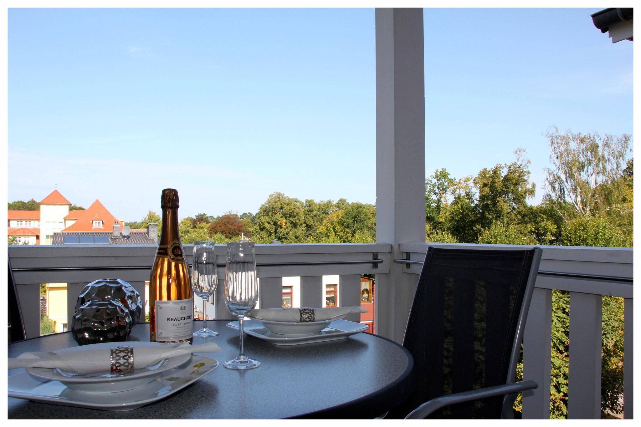 West-Balkon mit Blick in den Stadtwald und Lindenpark