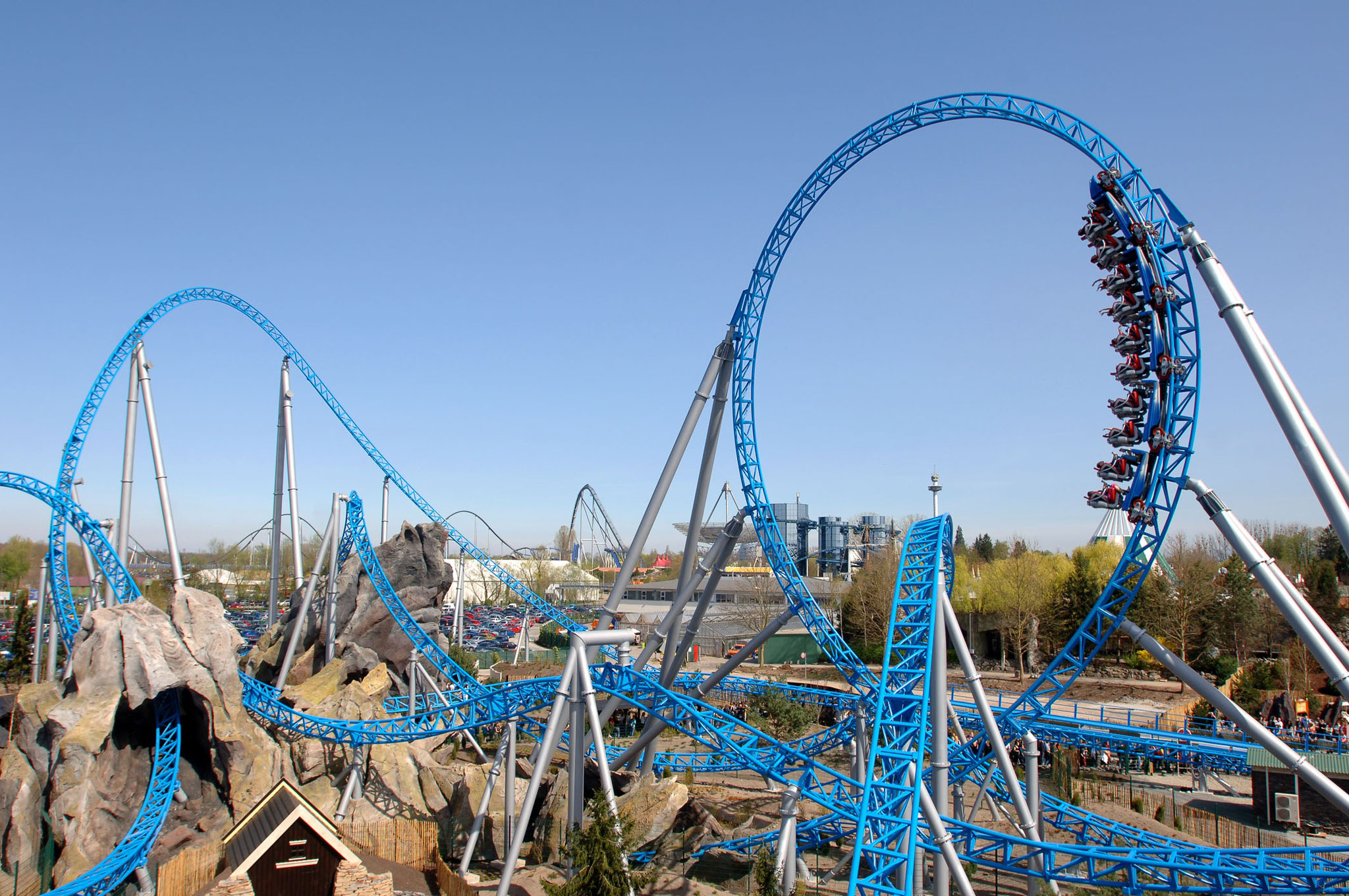 """""""Blue Fire"""" rollercoaster at Europa-Park Rust with it´s catapult start from 0 up to 100km/h in 2,5s!"""