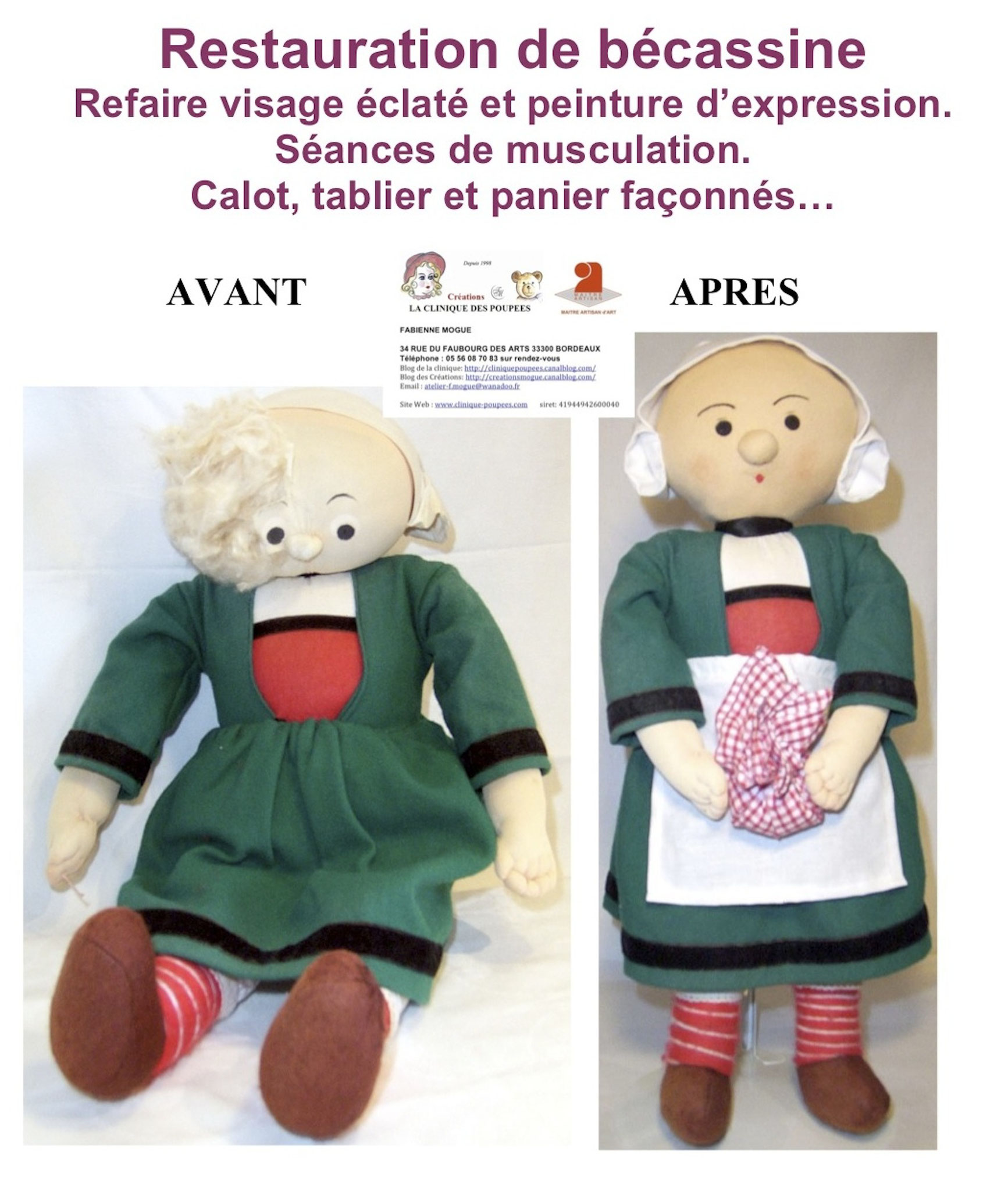 Bécassine à La clinique des poupées à Bordeaux, restauration bécassine complète fabienne mogue
