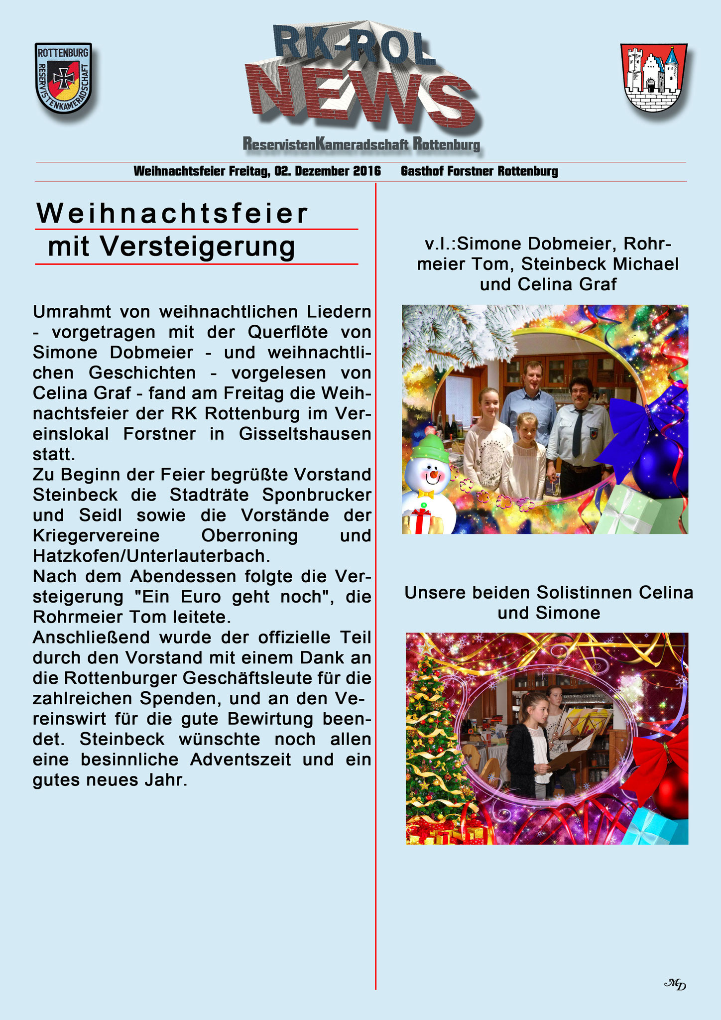 Bericht Weihnachtsfeier 02.12.2016...
