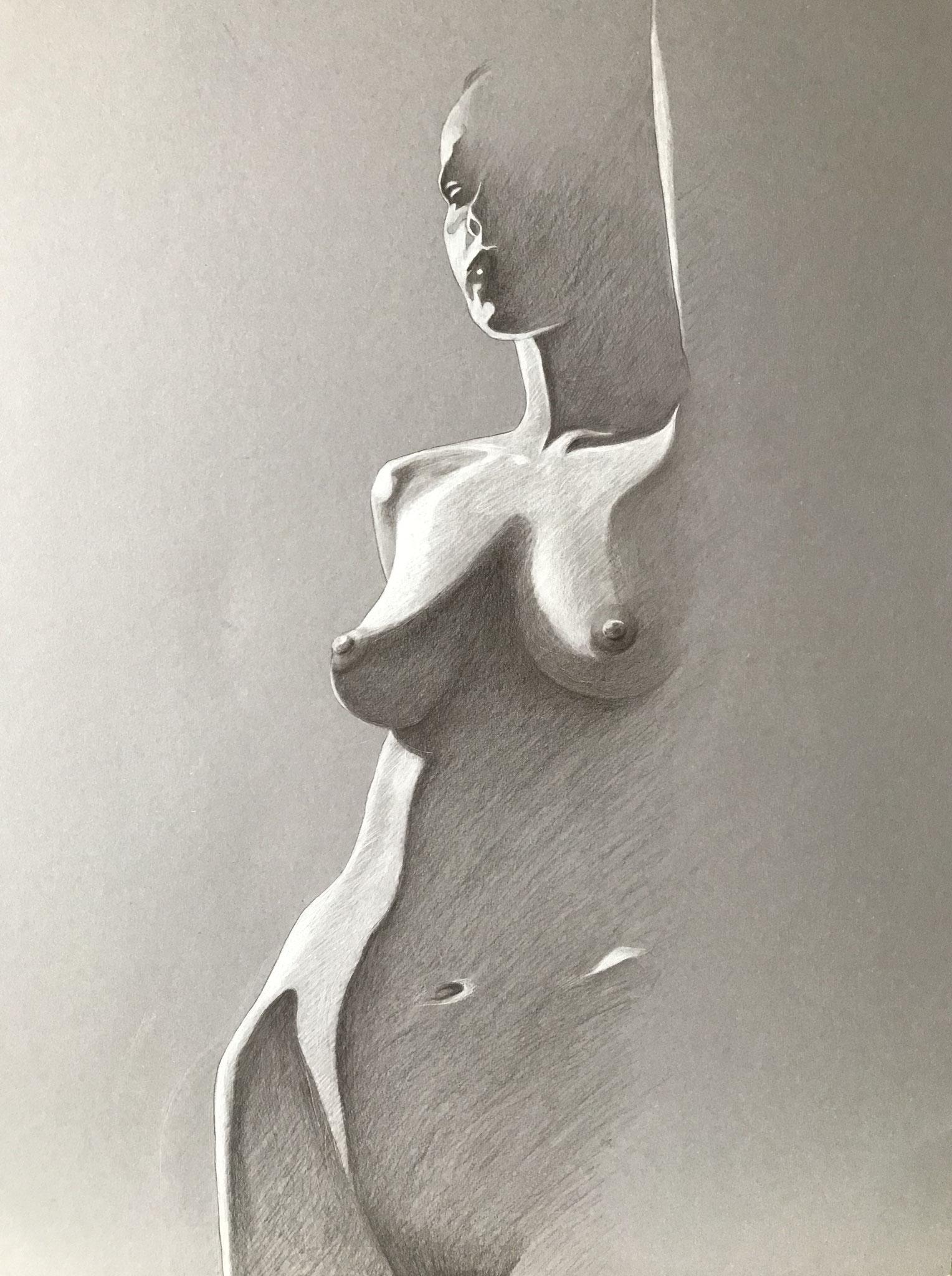 Der Morgen, Kreide und Aquarellstift auf Karton, 70 x 50 cm