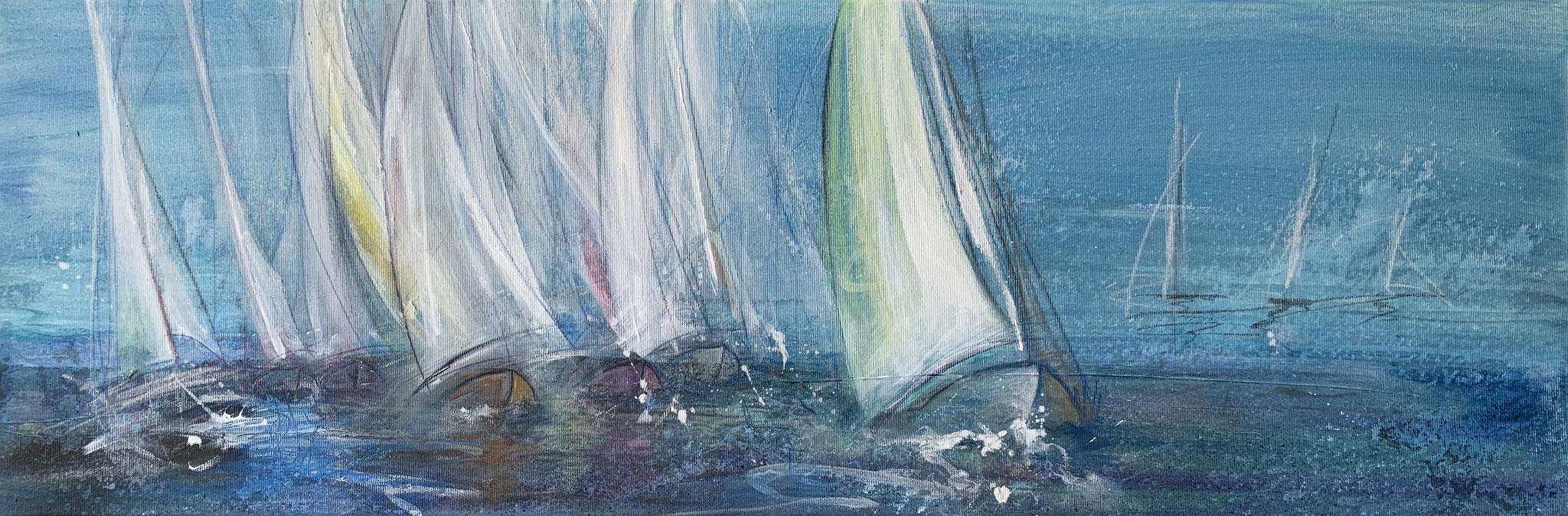 Ostsee, Acryl und Kreide auf Leinwand, 80 x 30 cm