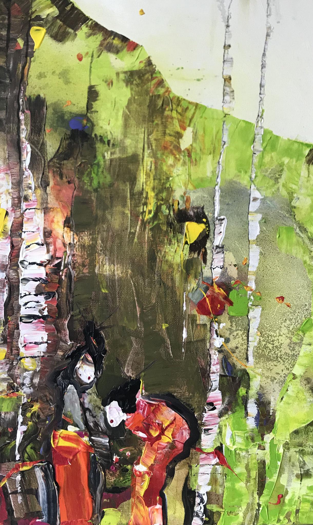 Die Geishas im Birkenhain auf Leinwand, 80 x 40 cm