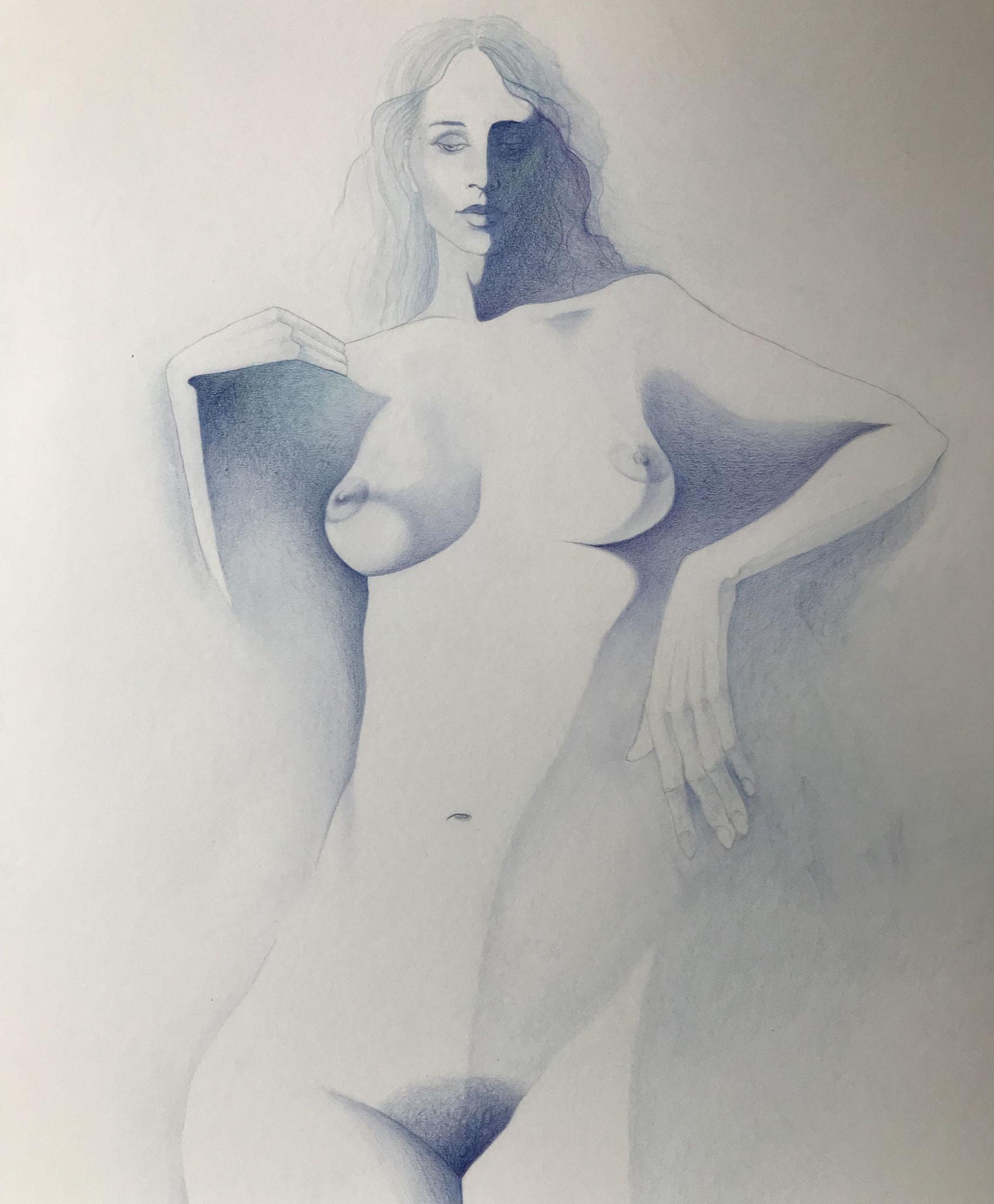 Besinnlich, Kreide und Aquarellstift auf Karton, 70 x 50 cm