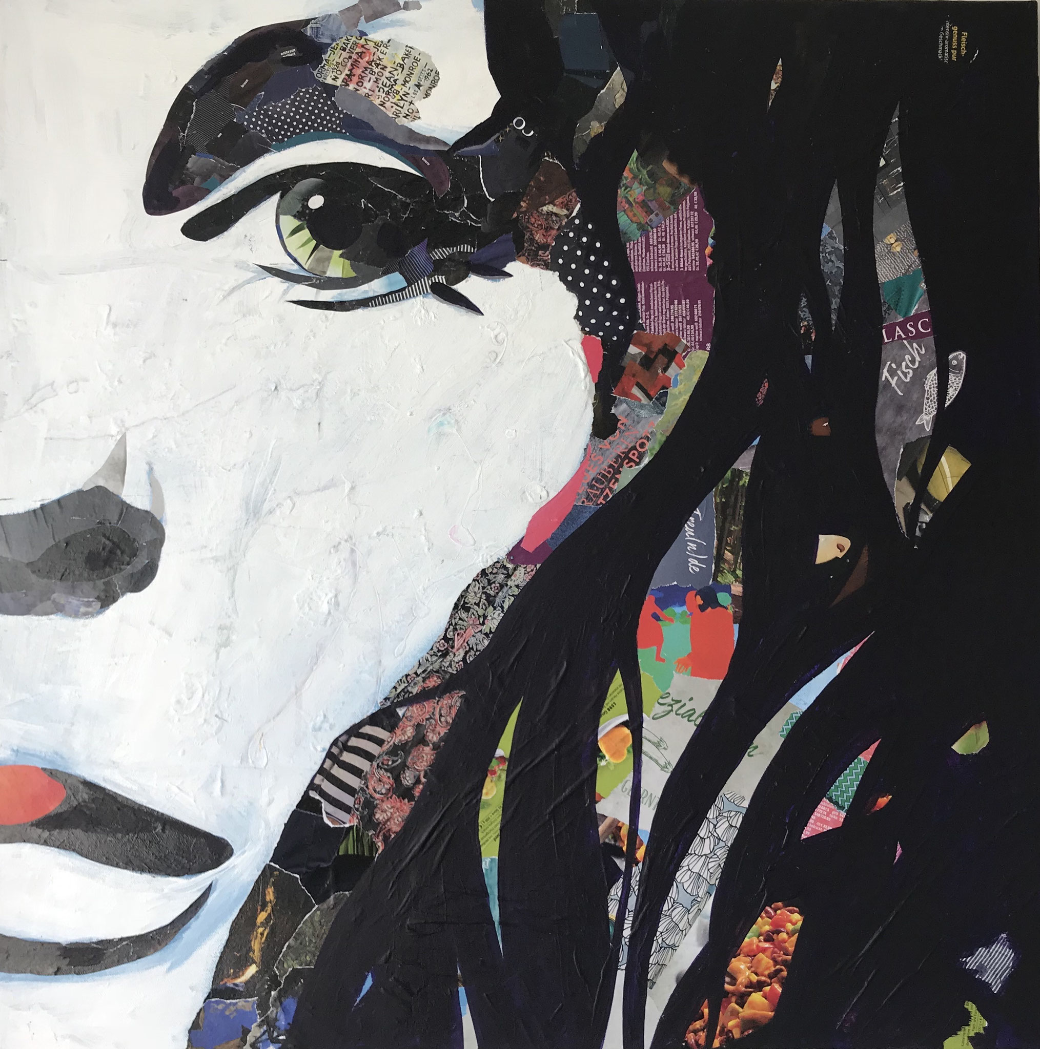Calypso, Collage Acryl und Papier auf Leinwand, 80 x 80 cm