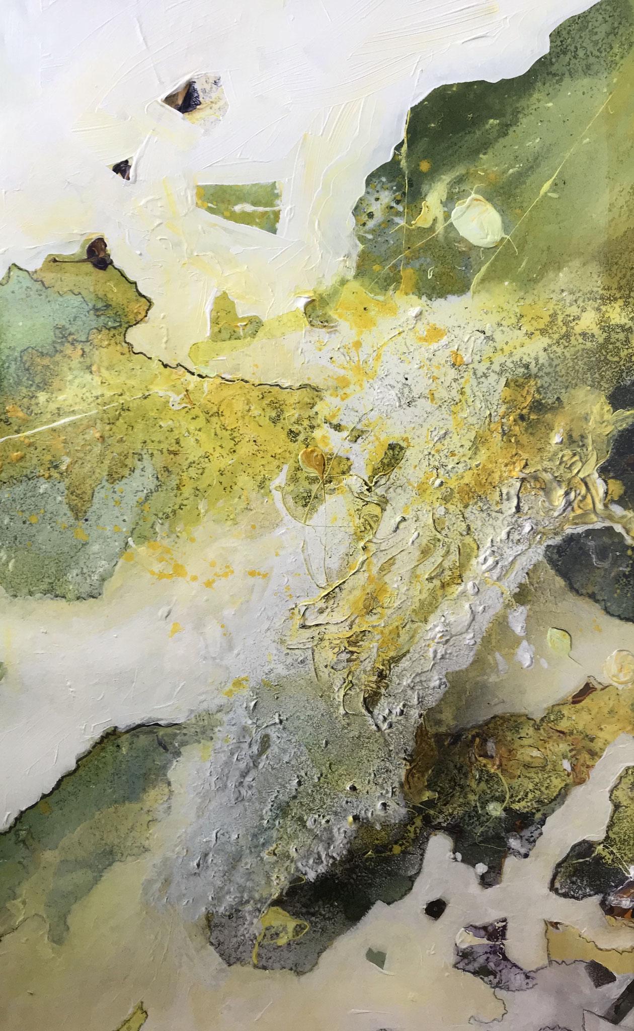 Berge im Eis, Acryl auf Karton, 100 x 80 cm
