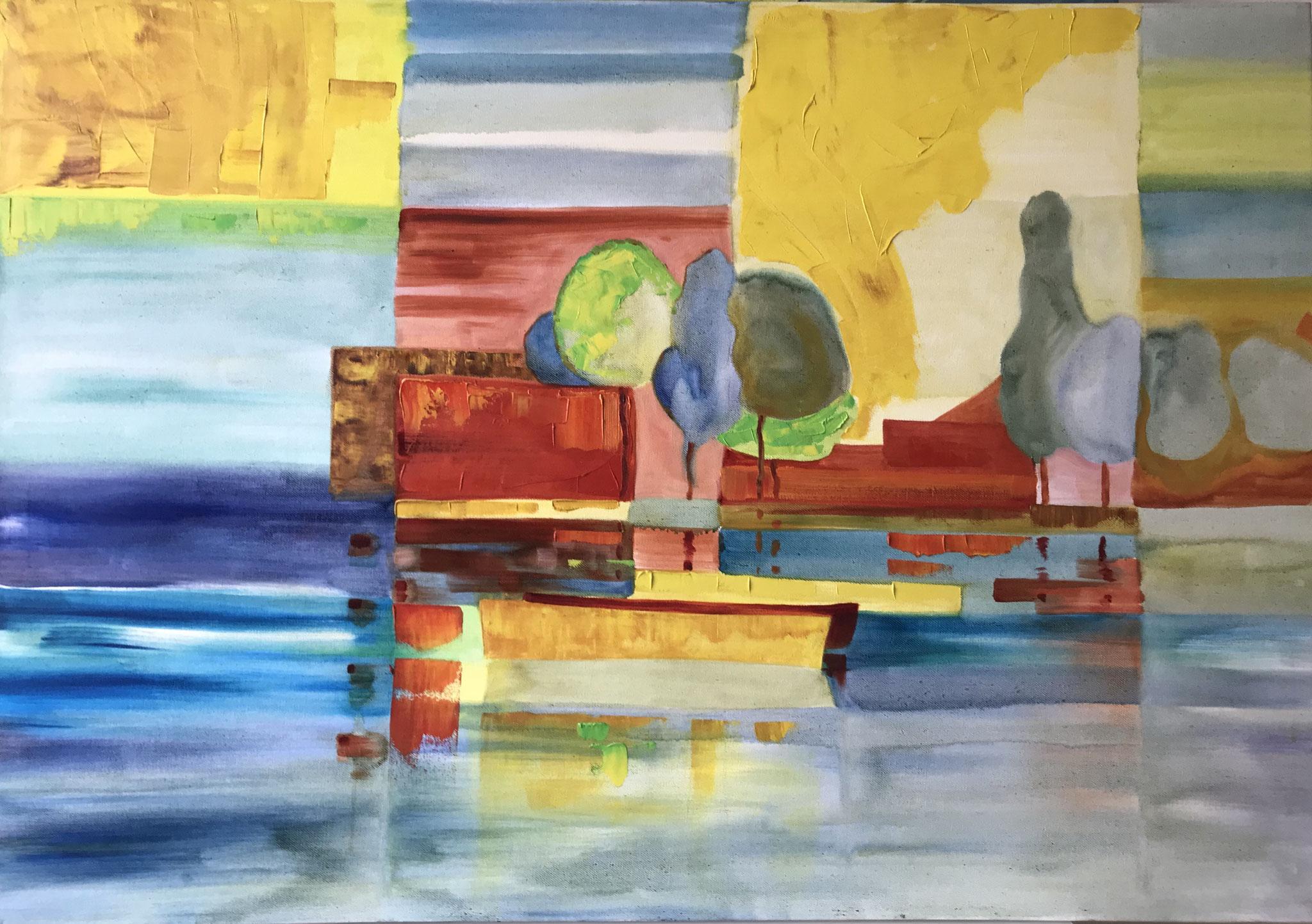 Boote am Steg, Acryl auf Leinwand, 100 x 70 cm
