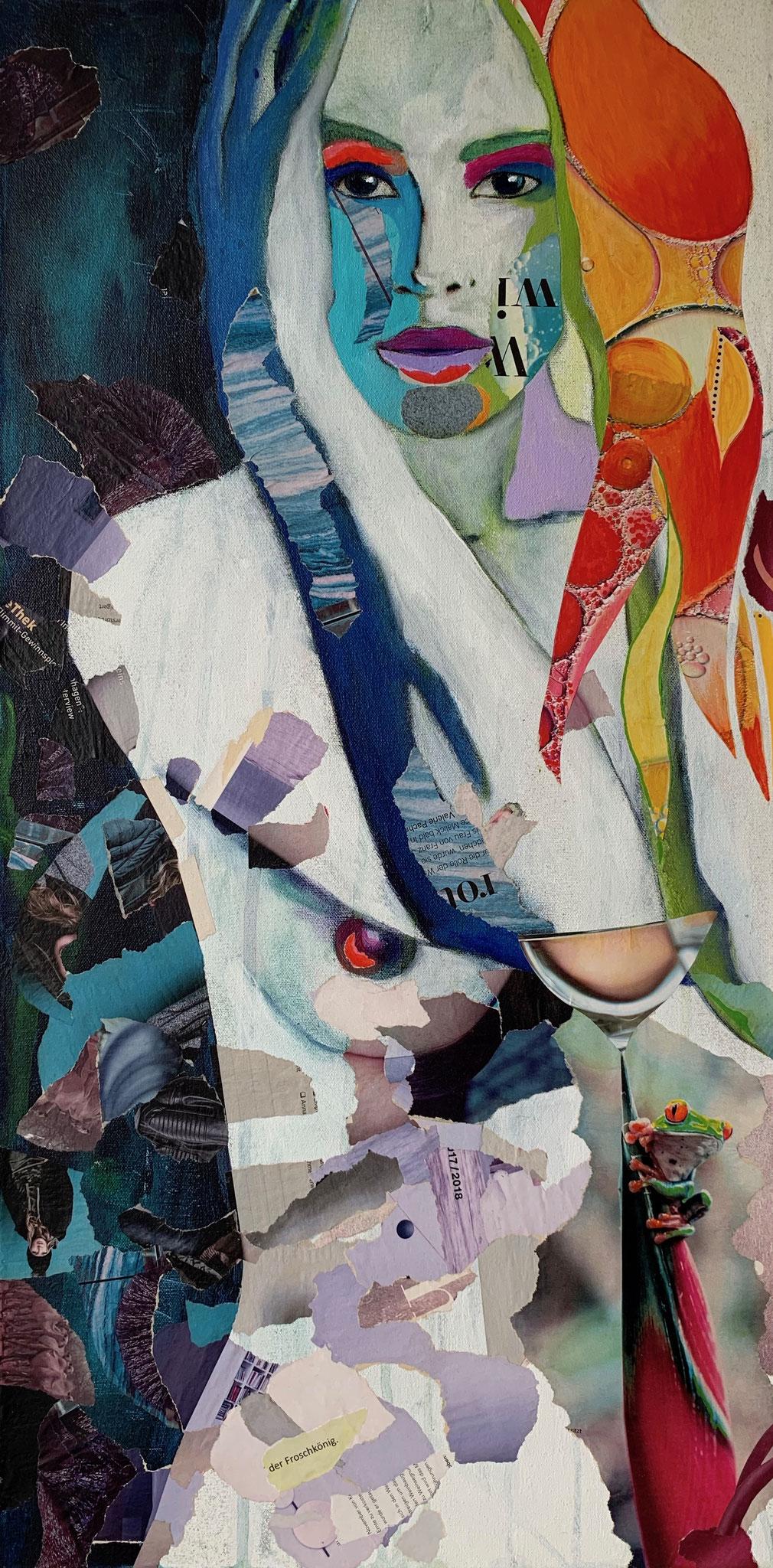 Der Froschkönig, Collage, 80 x 40 cm