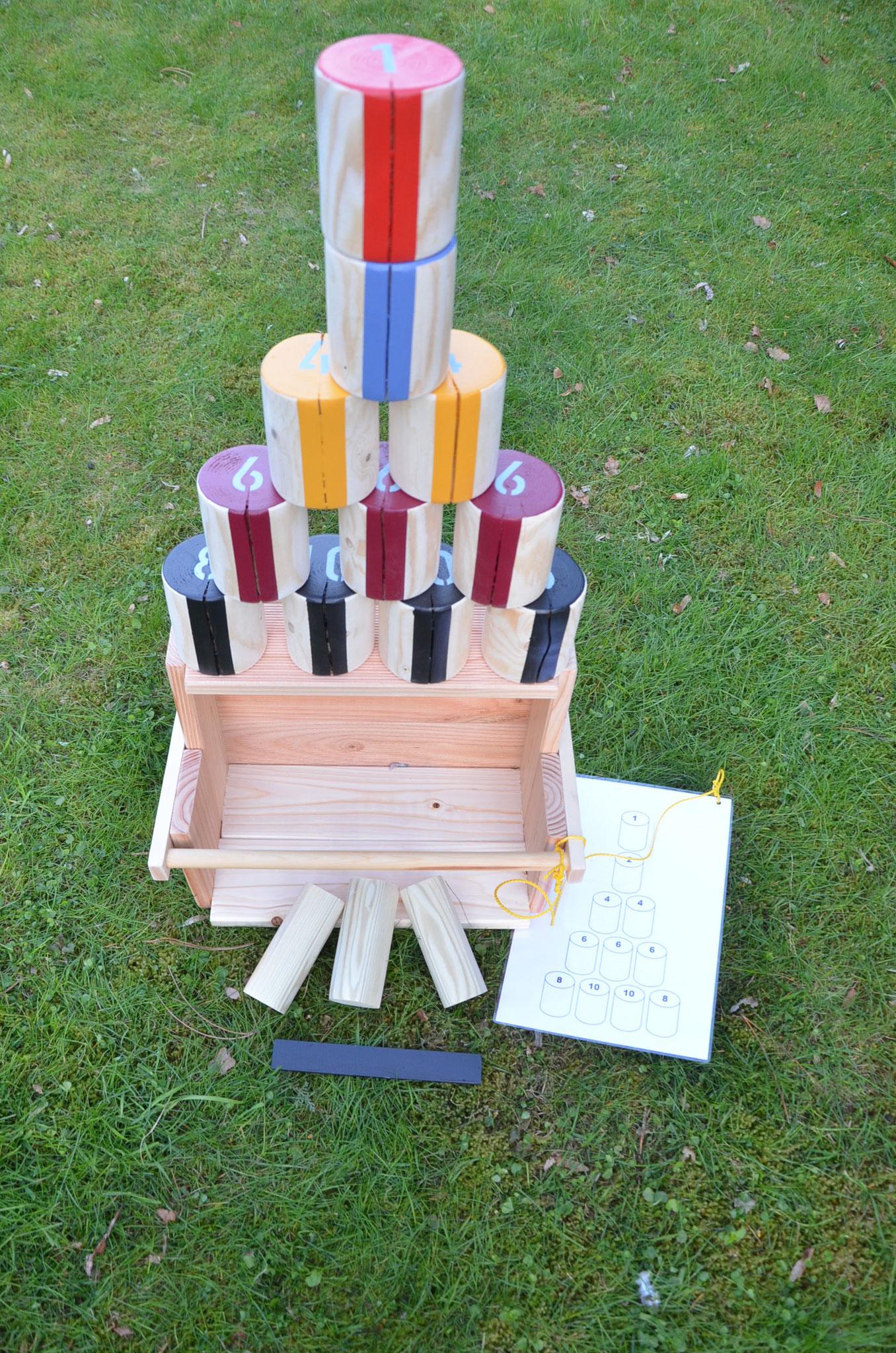 Meine Outdoorspiele: Holzdosenwerfen bunt