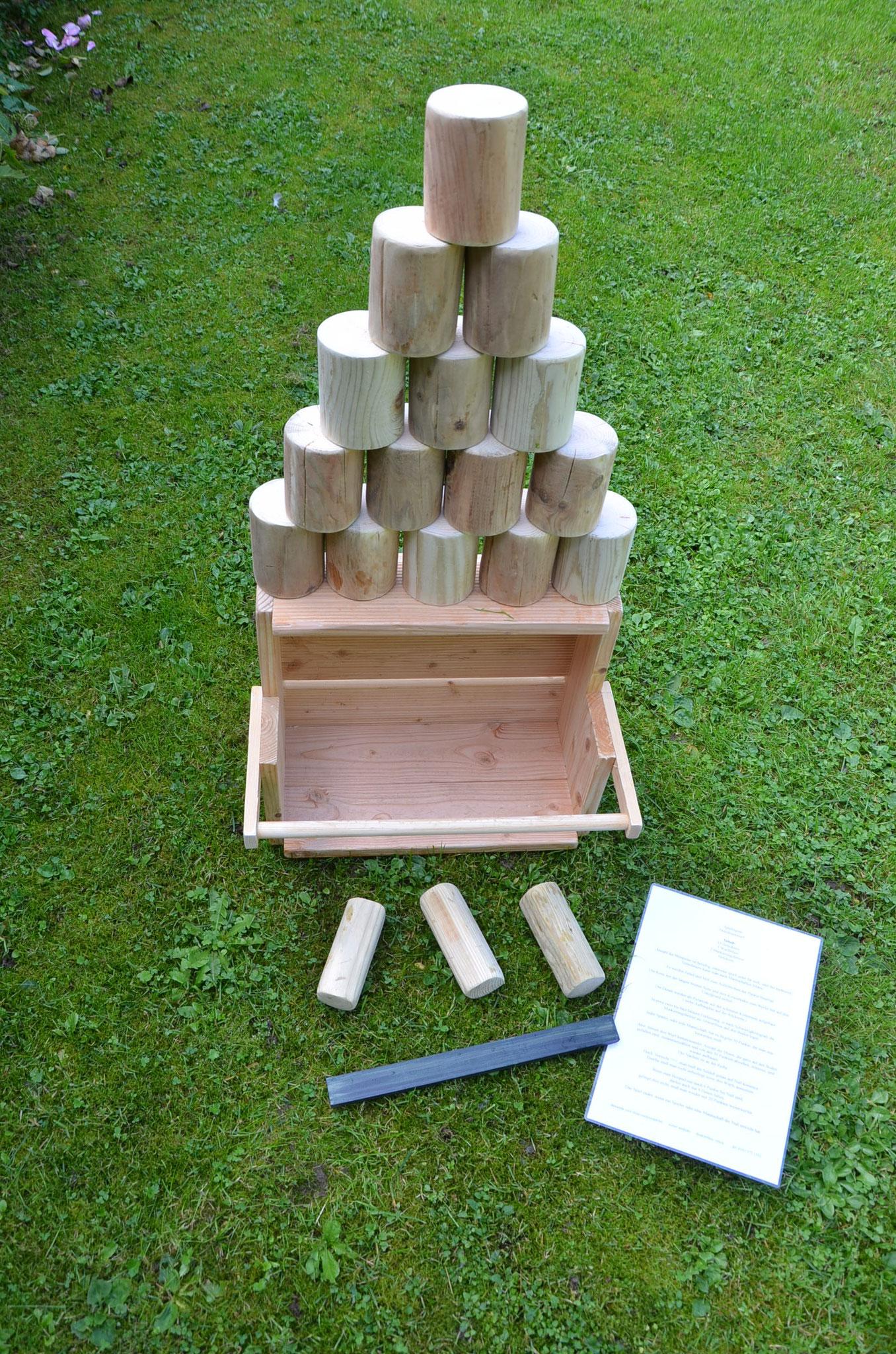 Meine Outdoorspiele: Holzdosenwerfen natur