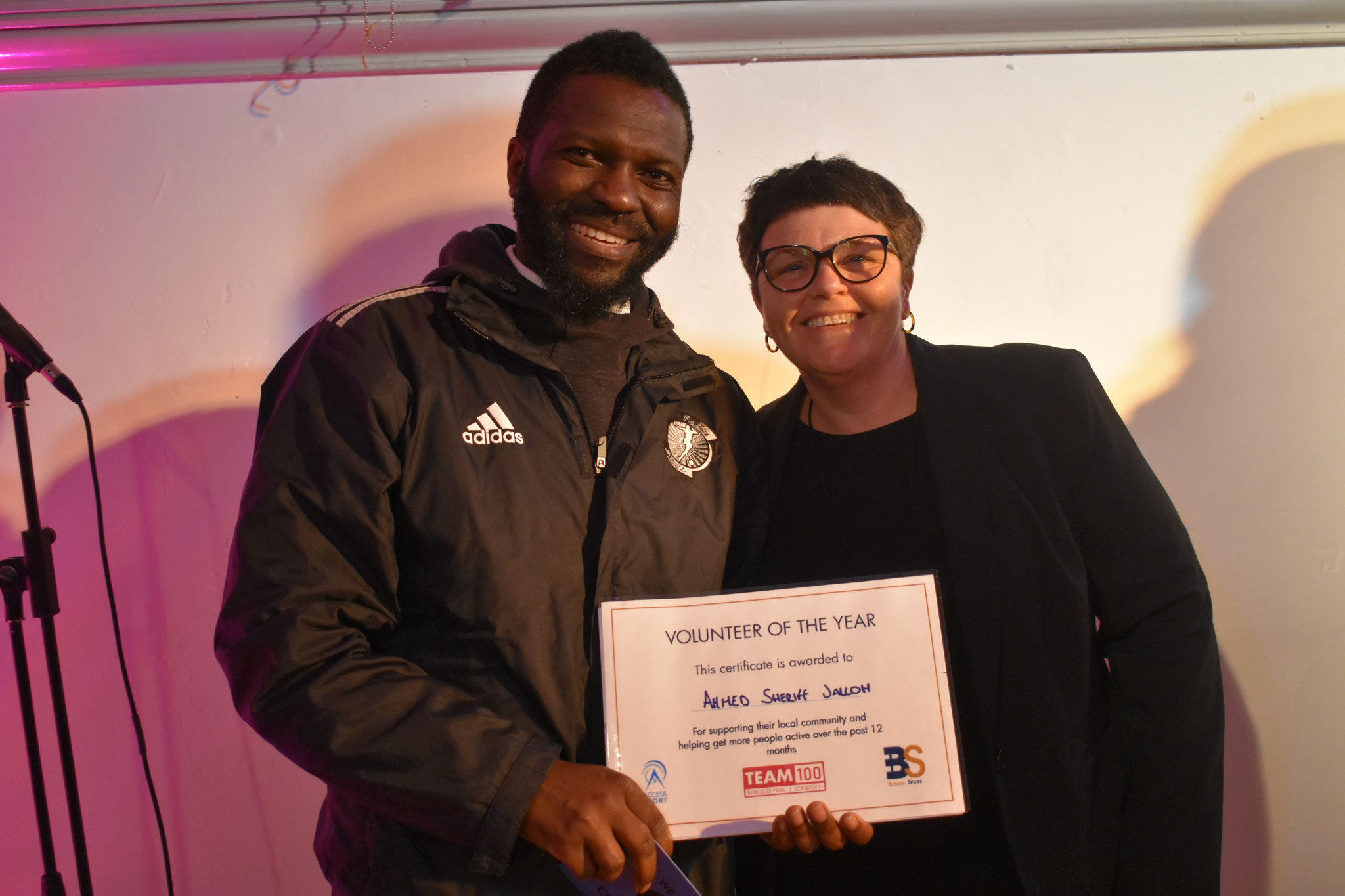 Ahmed Sheriff Jalloh FC Jean Te Le Volunteer of the year