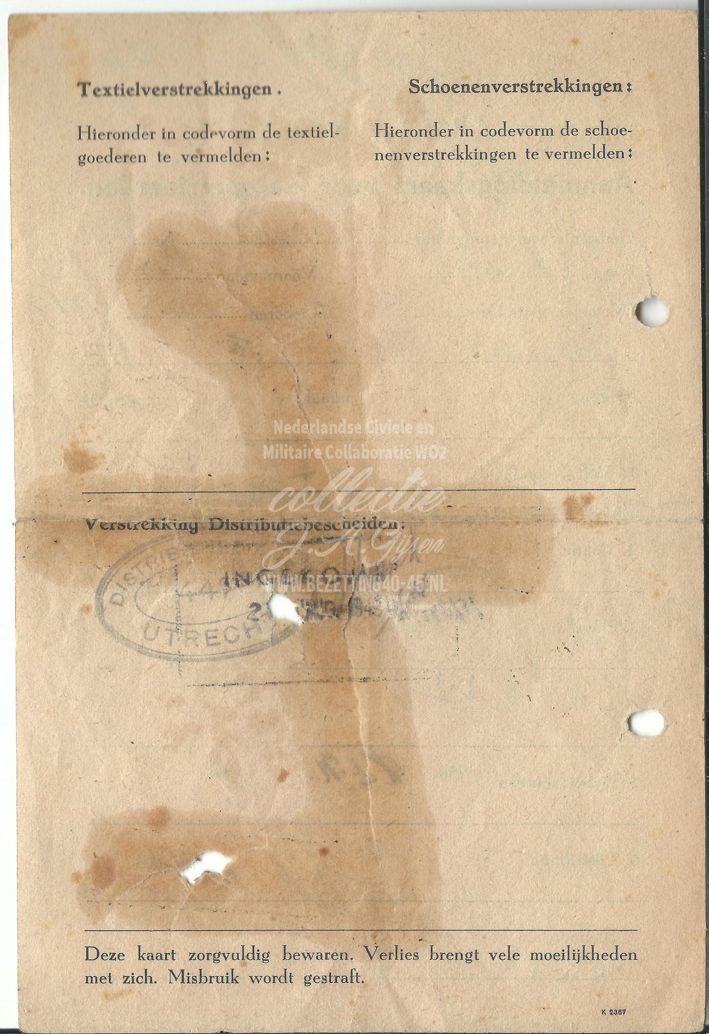 Aanmeldingskaart voor Gerepatrieerden 1945.