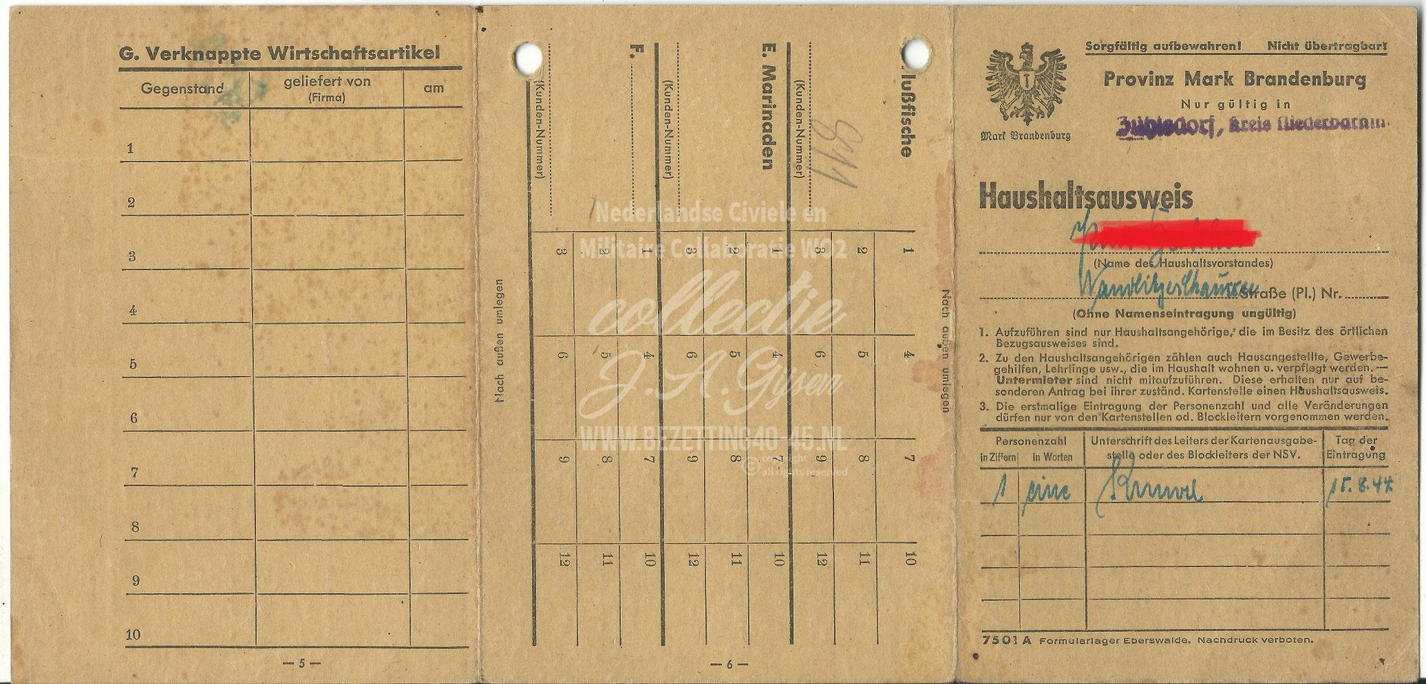Mark Brandenburg Zühlsdorf Niederbarnim Haushaltausweis.