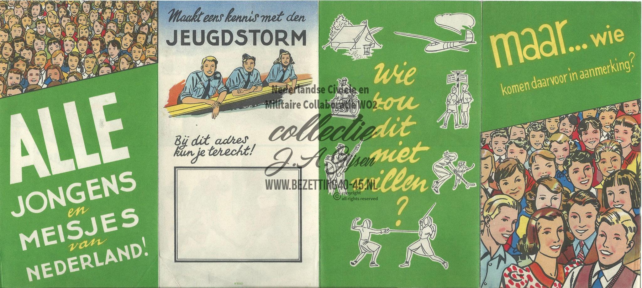 """Jeugdstorm brochure """"Alle Jongens en meisjes van Nederland!"""" 40 x 18 cm."""