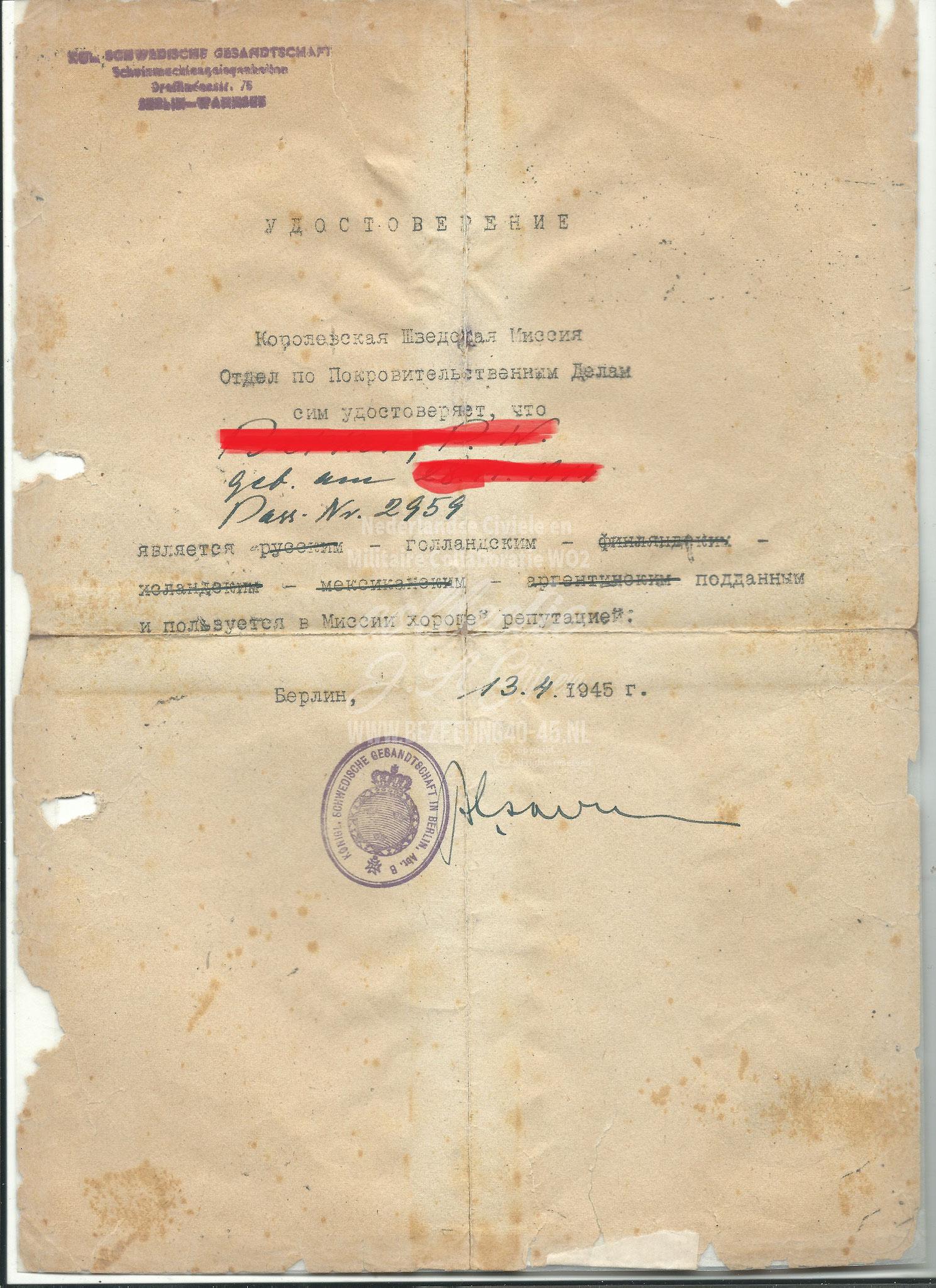 Verklaring Zweedse missie goede reputatie Berlijn 13 April 1945.