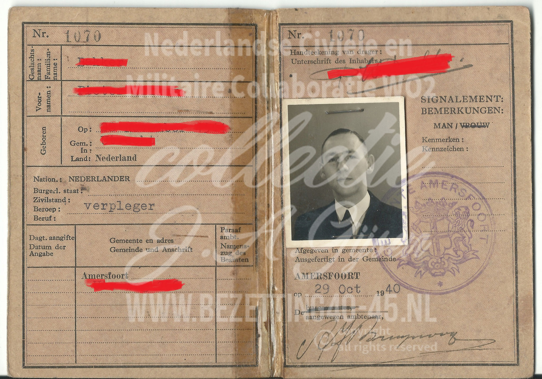 Identiteitsbewijs ID pass worker BMW Factory Berlin 1942 - 1945.