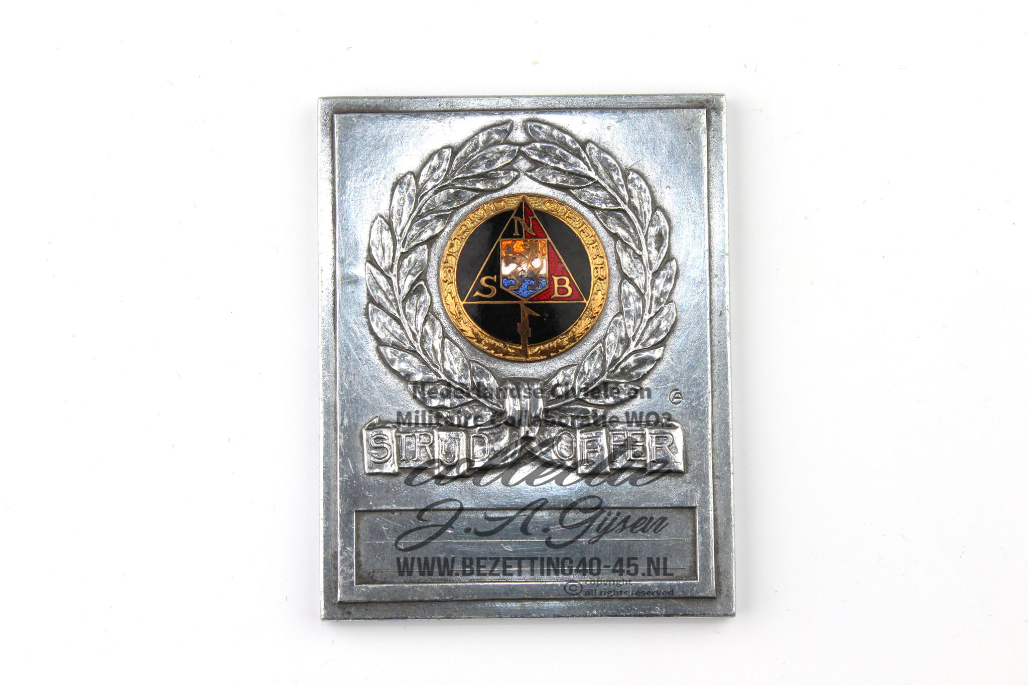 Dutch SS NSB Combat Sacrifice plaque Strijd en Offer Plaquette voorkant.   ( NSB Badge Pin Medal )