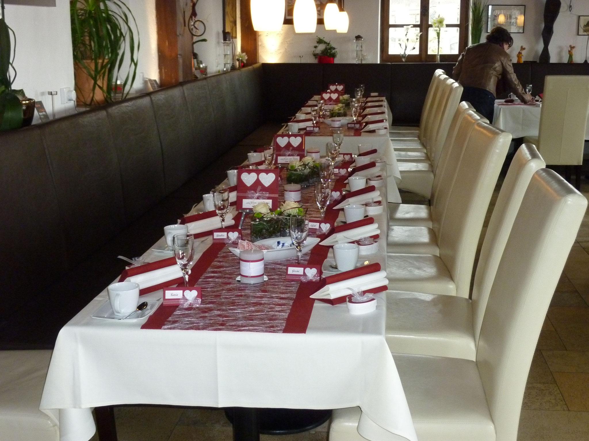 Restaurant Touché Burg Hartenstein Tischdekoration