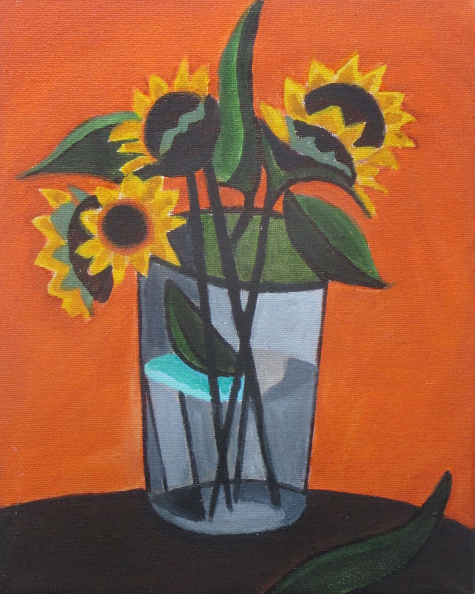 Sunflowers, acrylic on canvas, 8 x 10