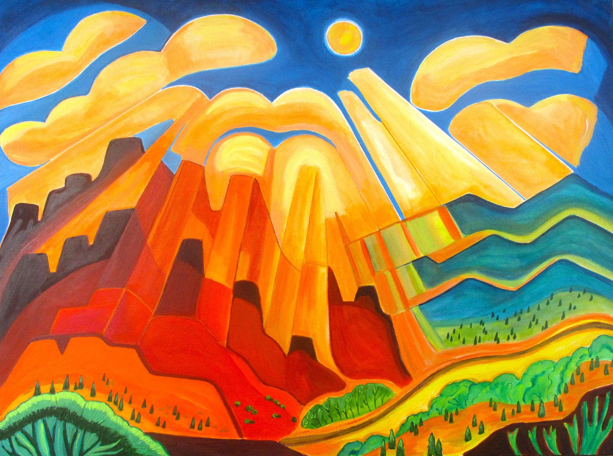 Honeysuckle Clouds, acrylic on canvas, 40 x 30