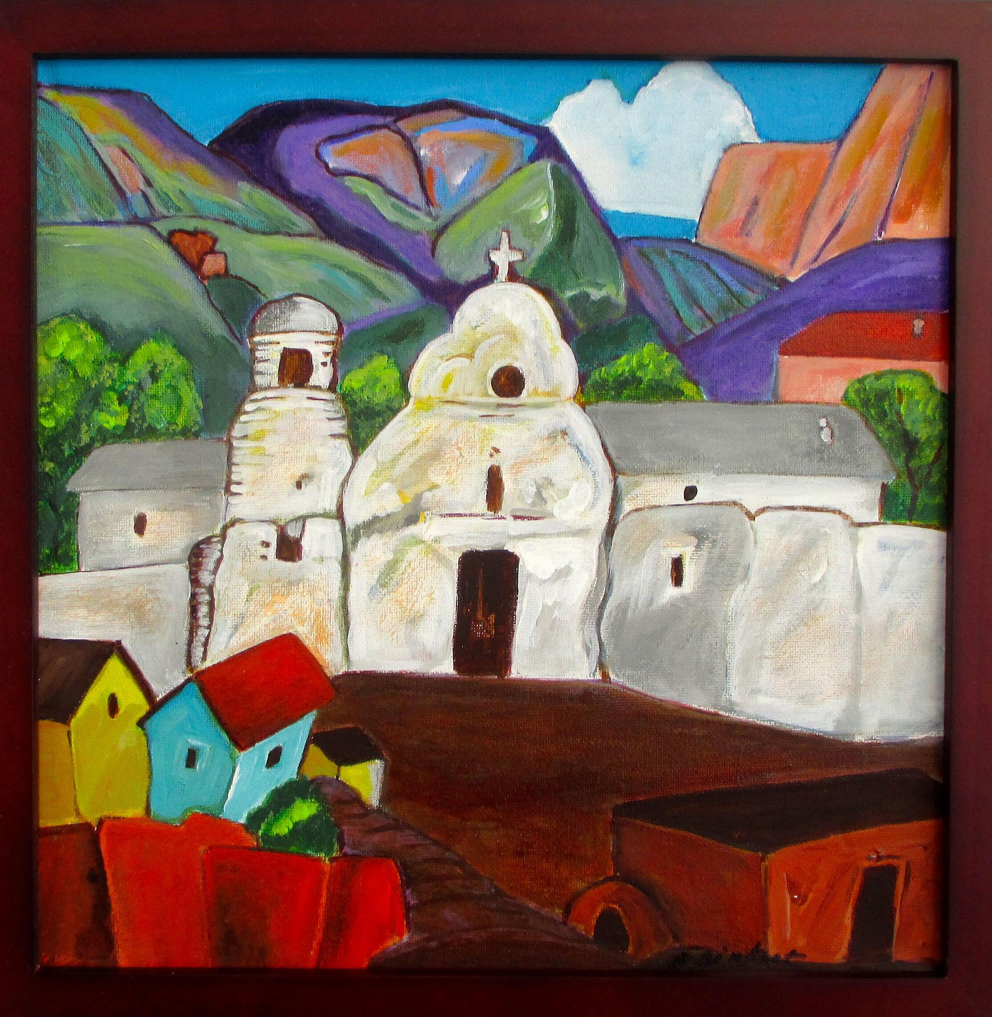 Spanish Village, acrylic on canvas, 20 x 20 SOLD