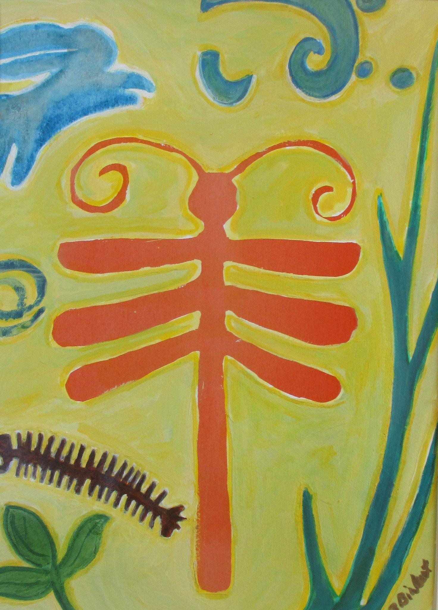 Dragonfly Garden, watercolor, 16 x 20