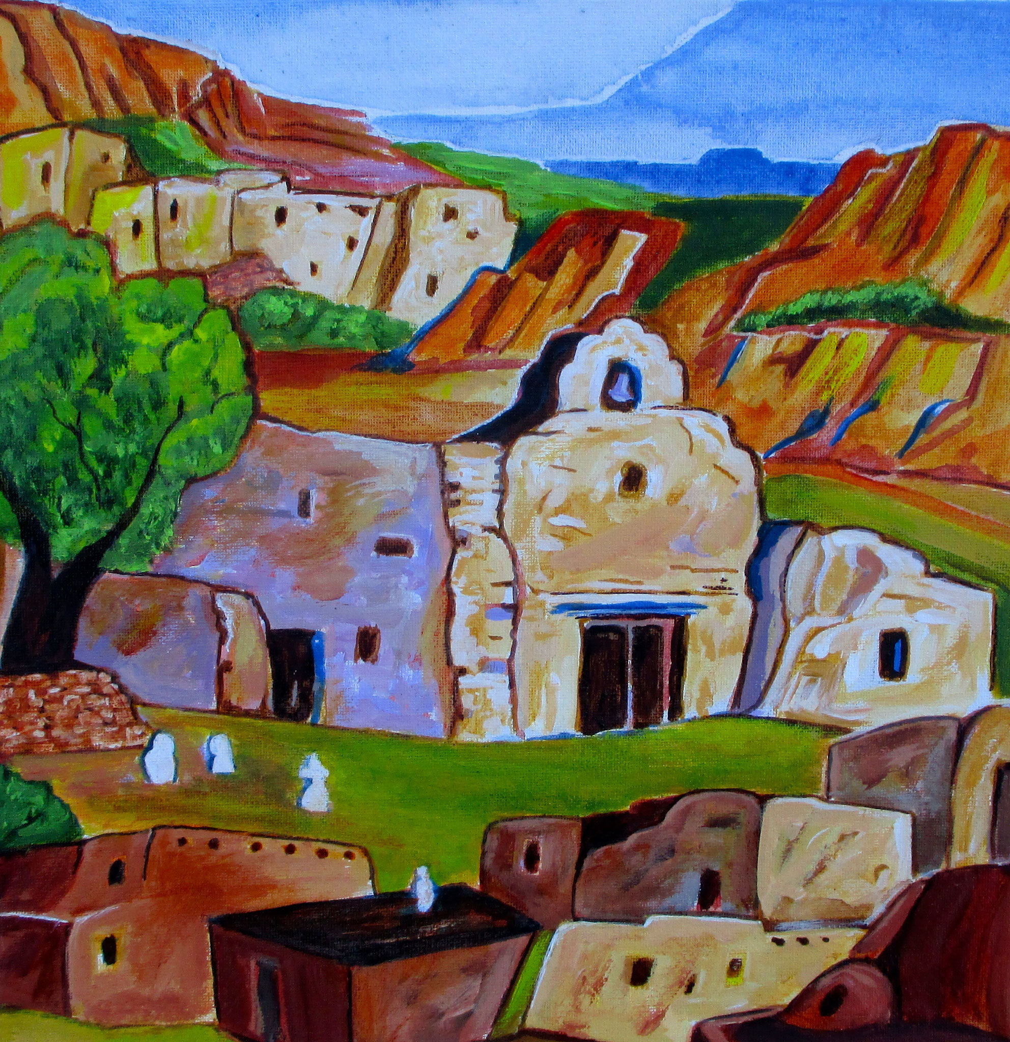Pueblo Village I, acrylic on canvas, 12 x 12, SOLD