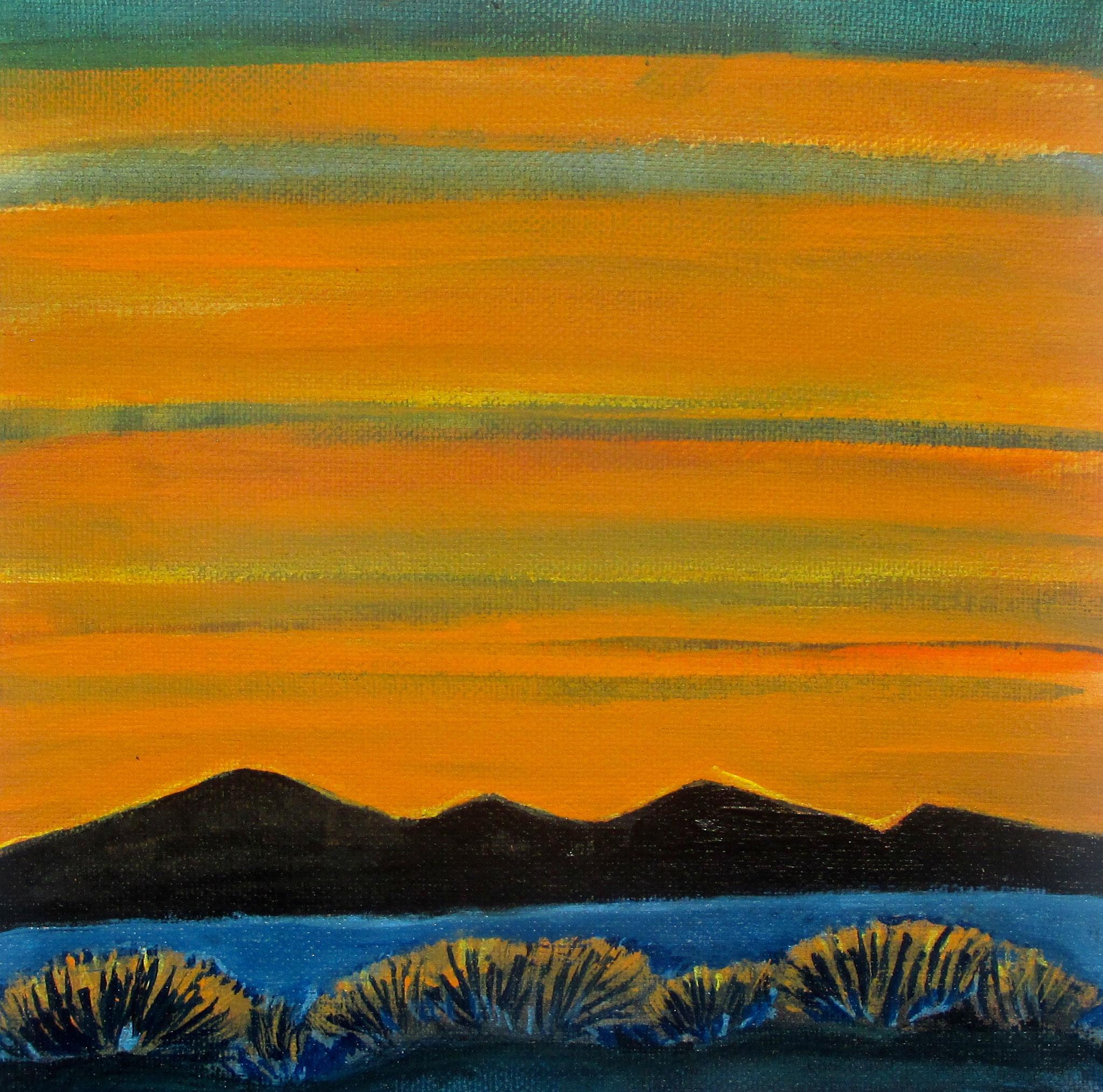 Golden Sunset, acrylic on canvas, 12 x 12, 2019