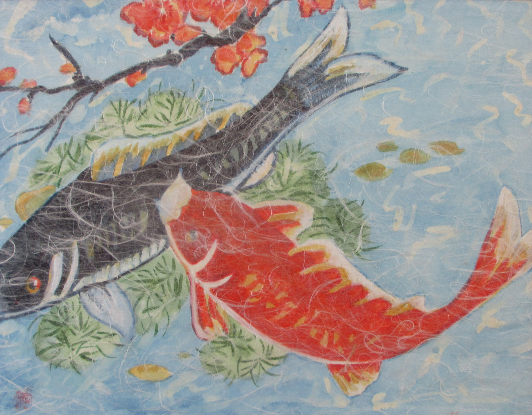 Koi, watercolor, Washi paper overlay, 20 x 16, matted