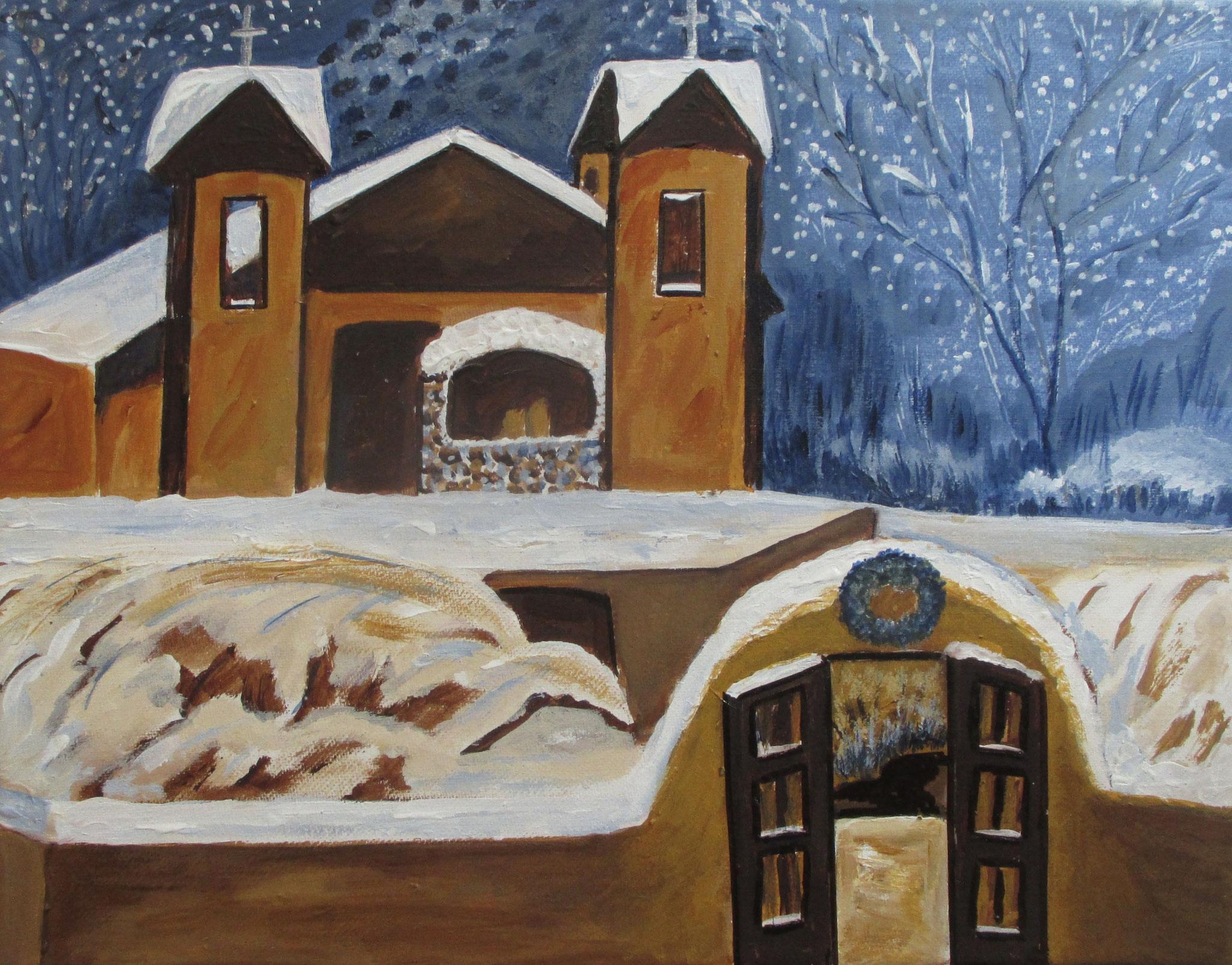 Santuario de Chimayo, acrylic on canvas, 14 x 11