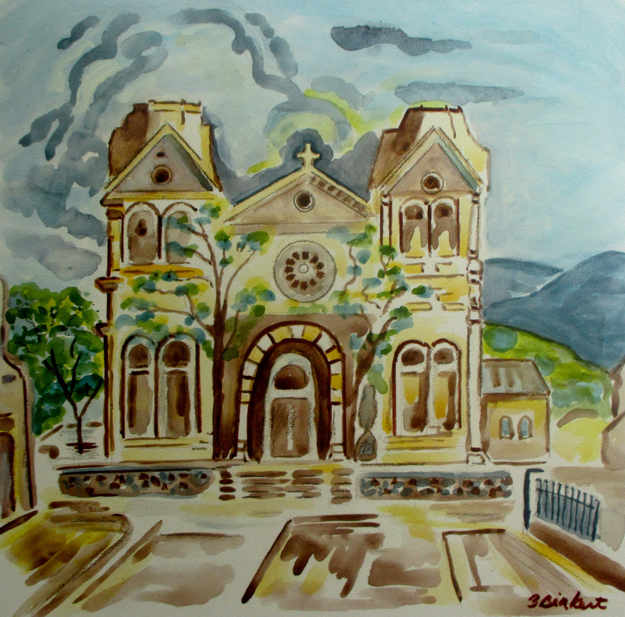 St. Francis Cathedral, watercolor on board, 12 x 12, 2019