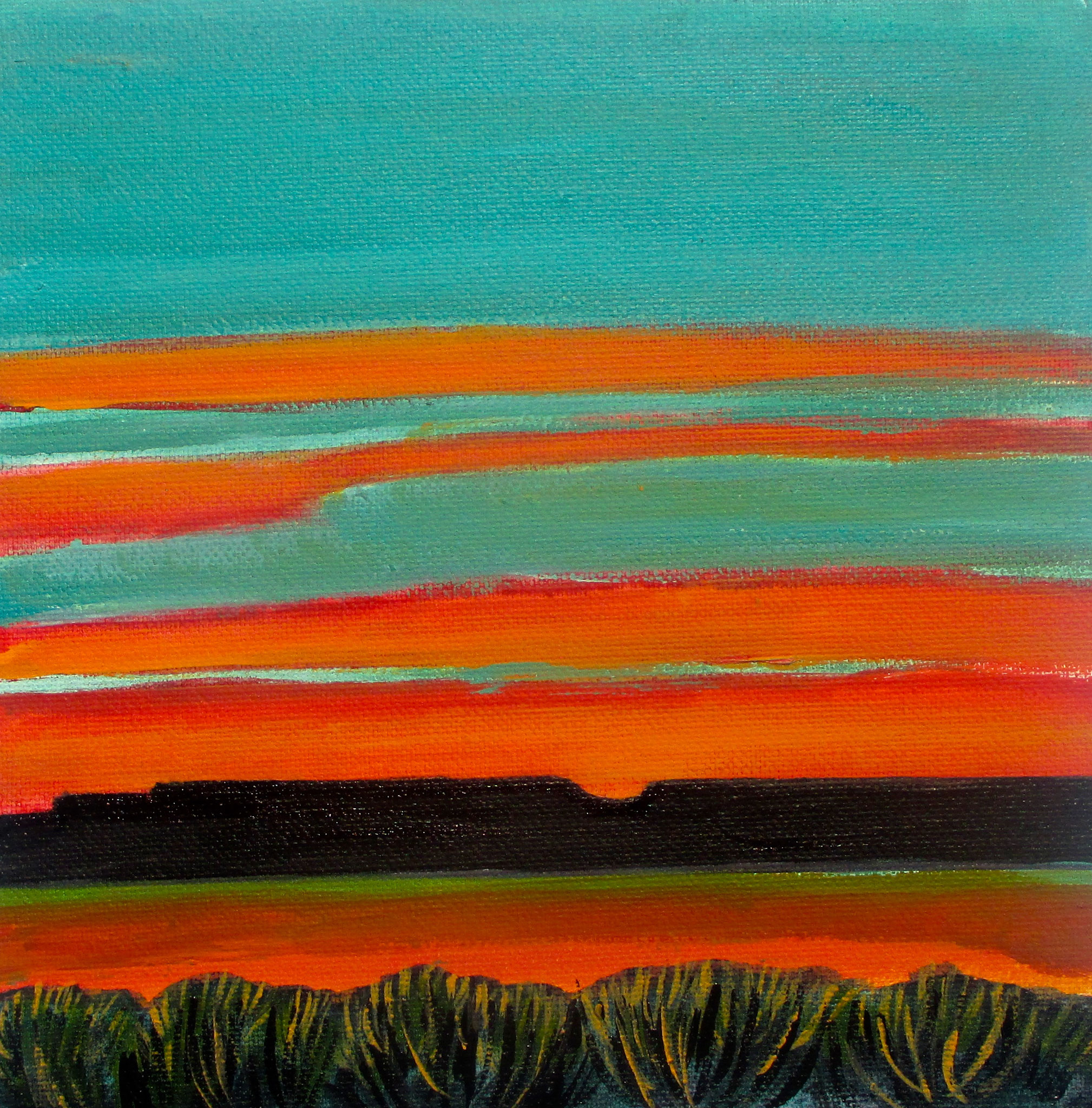 Veridian Sunset, acrylic on canvas, 12 x 12, 2019 SOLD