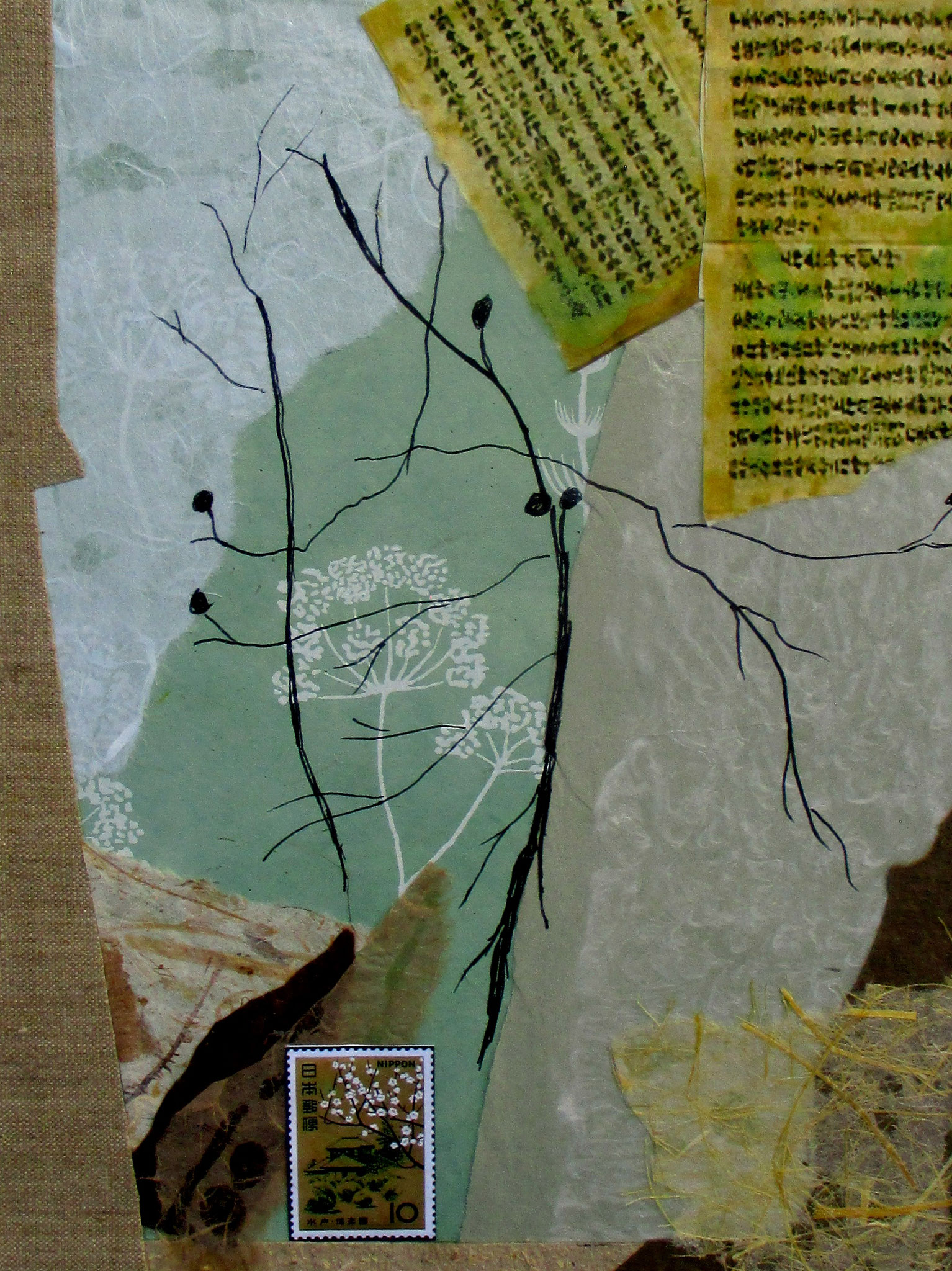 Spring Leaves 春の葉,  collage, 12 x 16 matted,SOLD